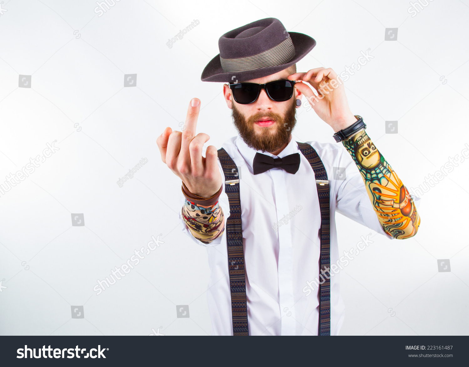 Young Hipster Man Wearing Hat Suspenders Stock Photo ...