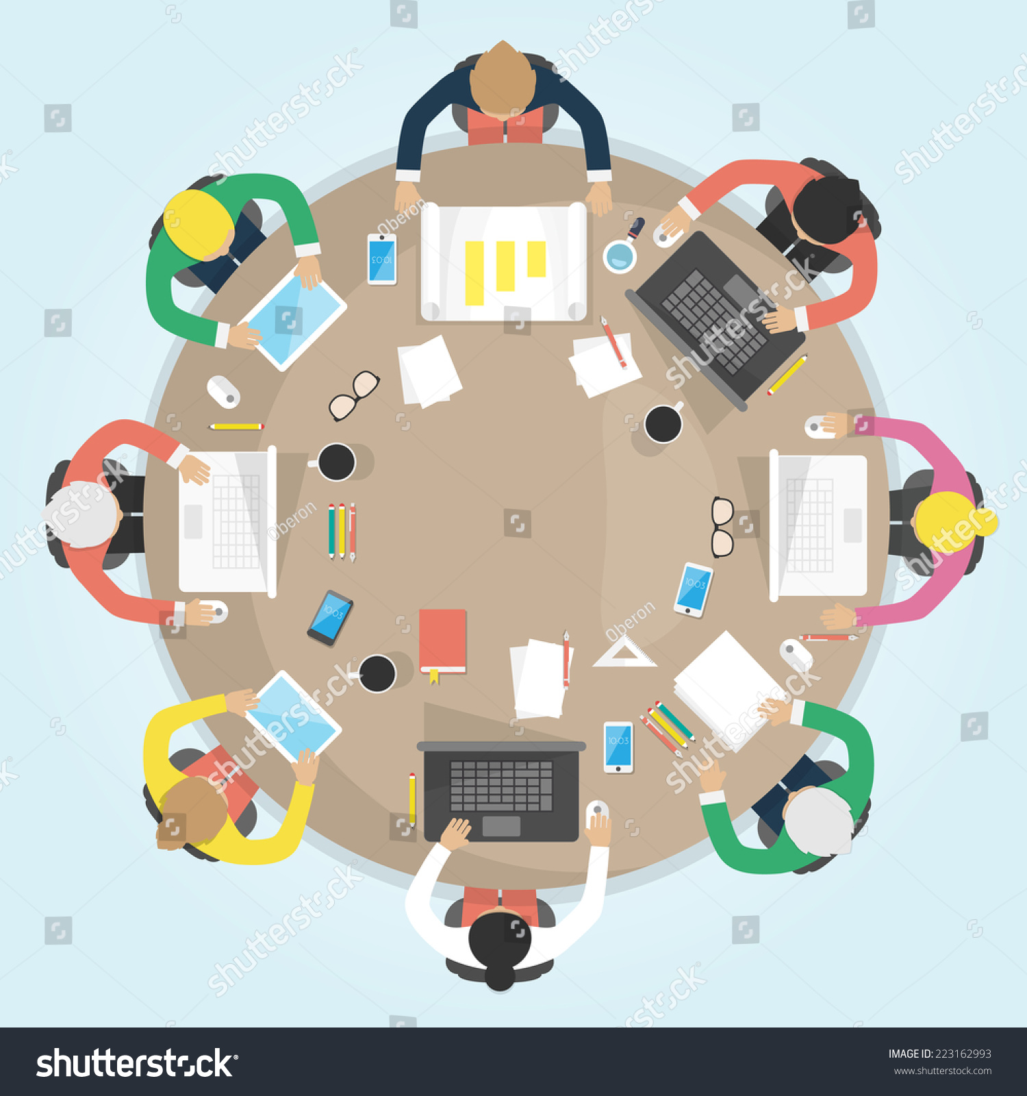 Round table meeting icon - Business Round Table Flat Design Vector Illustration Meeting Office Teamwork Brianstorming