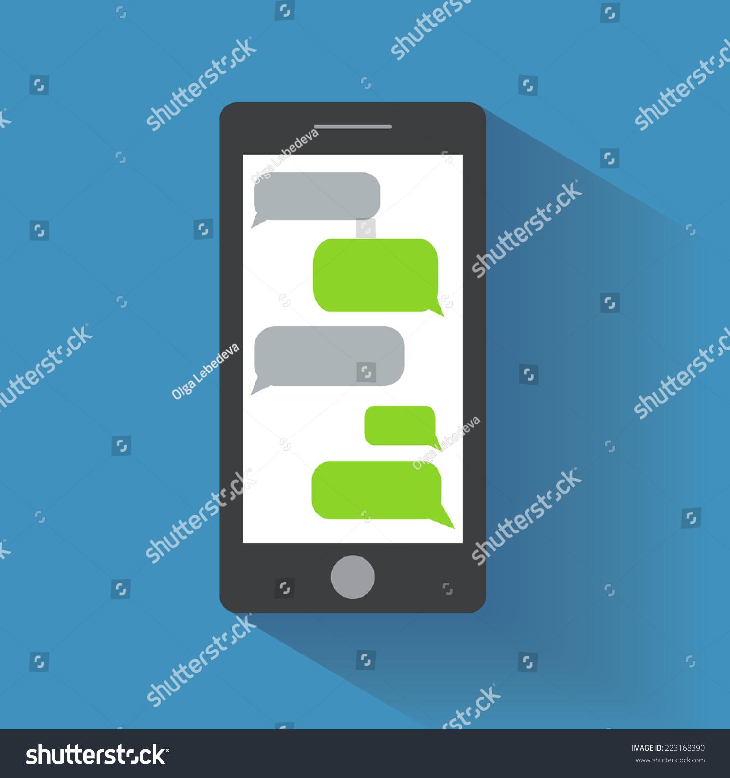 Black Smartphone Blank Speech Bubbles On Stock Vector 223168390 ...