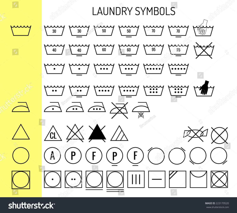 Icon Set Laundry Symbols Clothing Care Stock Vector Royalty Free