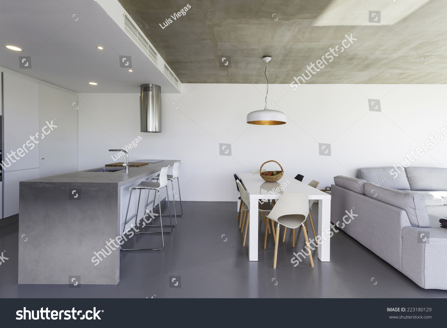 modern kitchen with gray tile floor and white wall Modern Kitchen Gray Tile Floor White Stock Photo 223180129