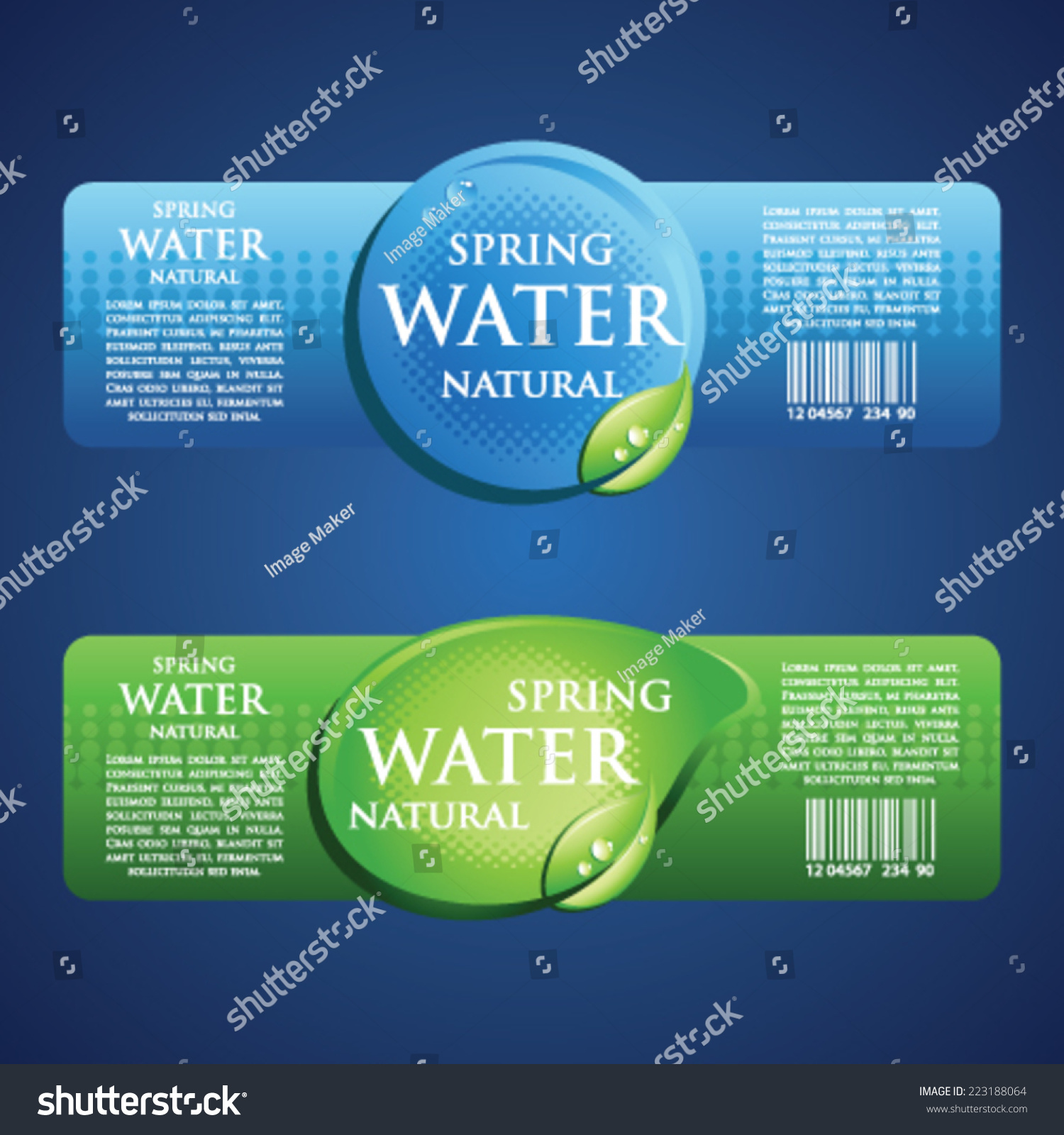Drinking Water Label Blue Green Stock Vector 223188064 - Shutterstock
