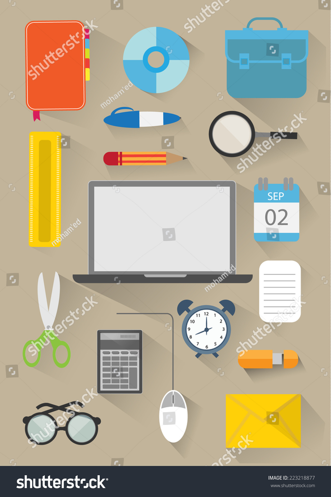 Flat business office elements design vector for Office design vector