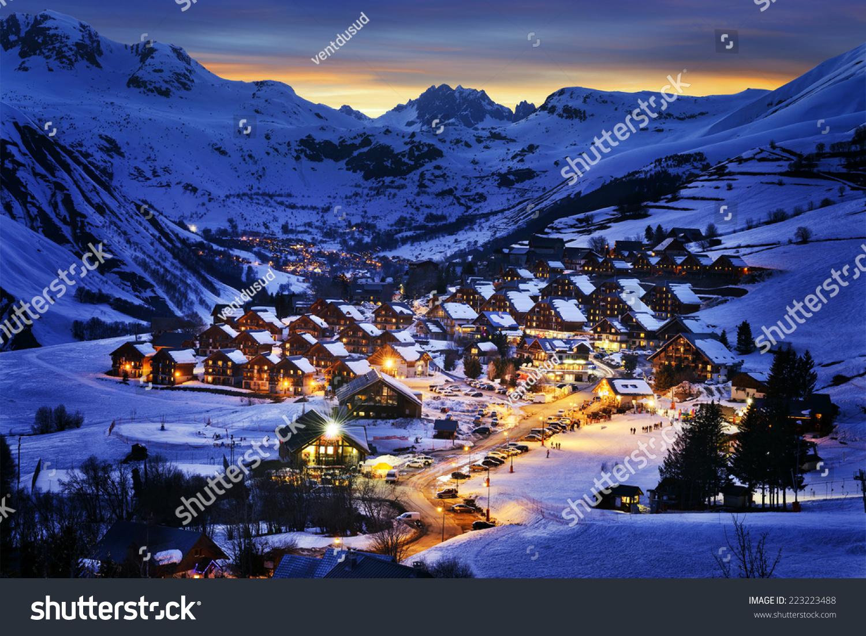 Evening landscape and ski resort in french alps saint jean for Find a landscaper