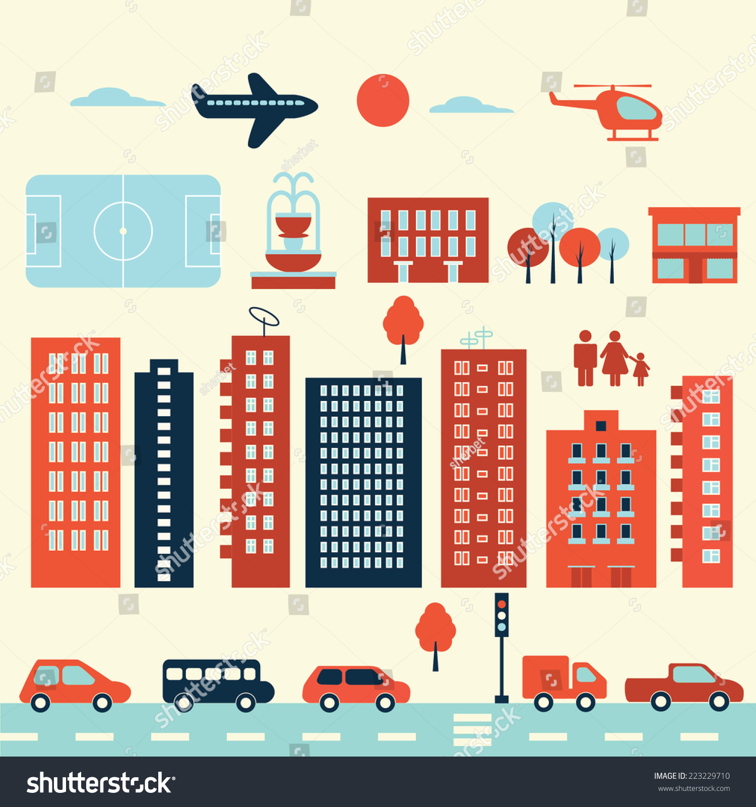 Map City Elements Infographic Icon Set Stock Vector (Royalty Free ...
