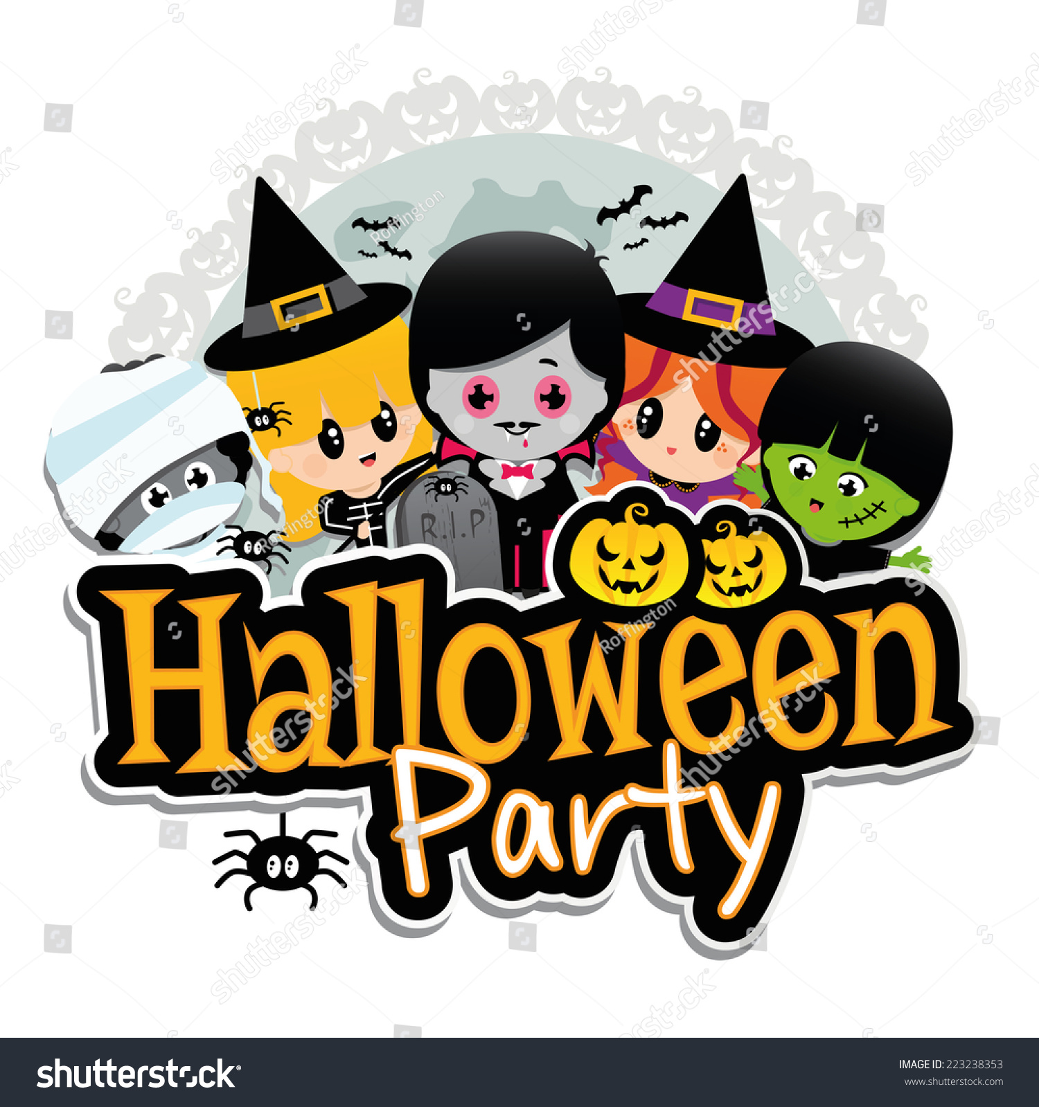Halloween Party Banner On White Background Stock Vector 223238353 ...