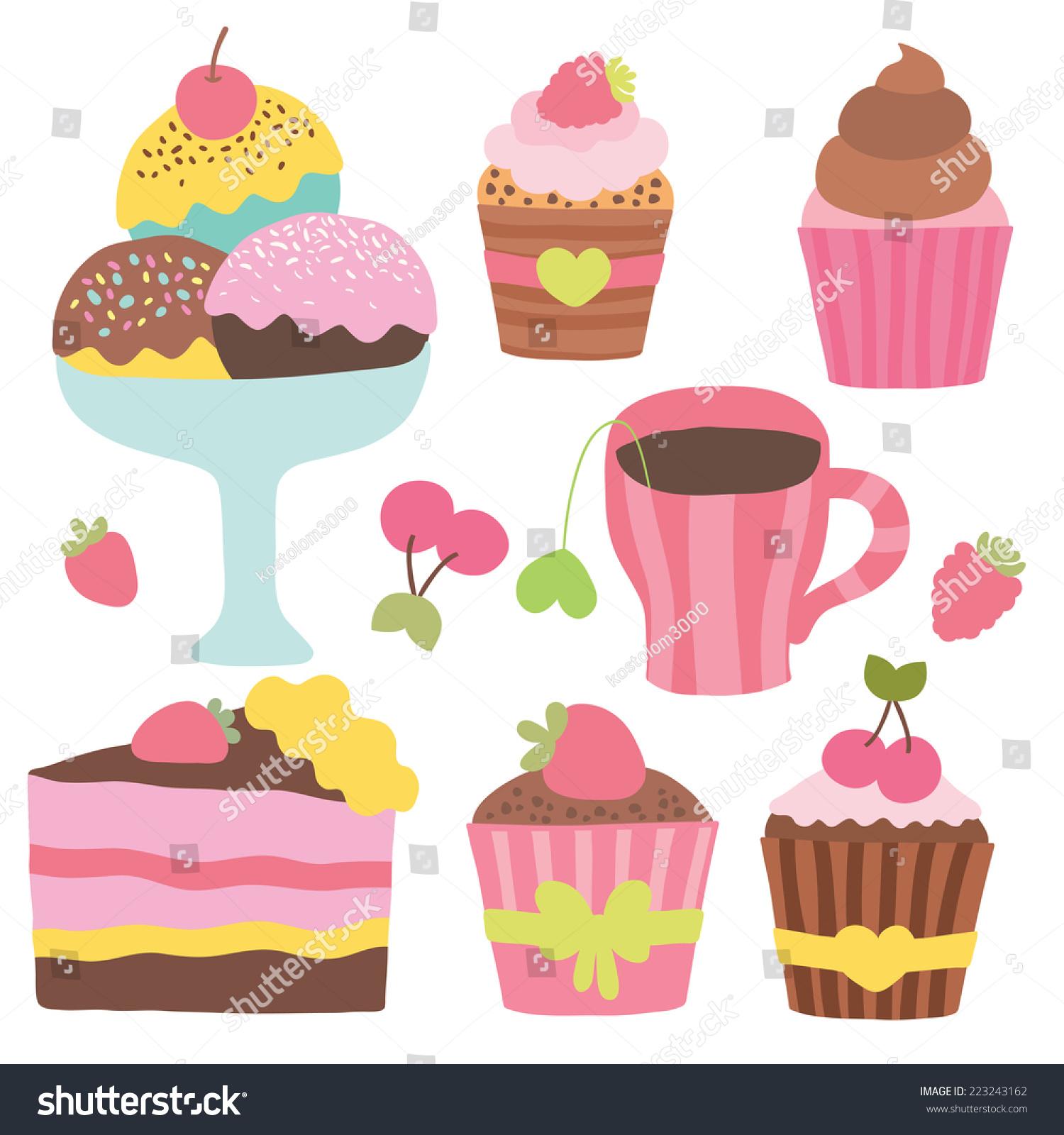Cute Cartoon Cupcakes Ice Cream Tea Coffee Muffin
