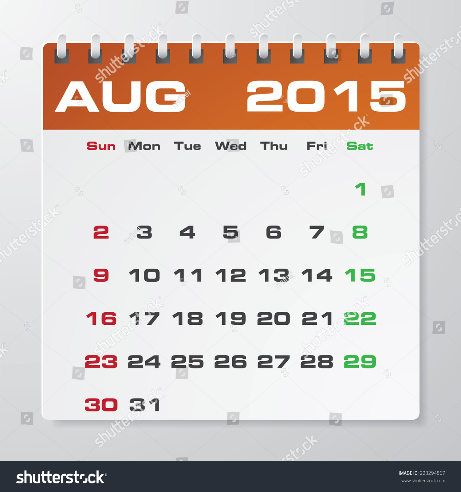 Simple 2015 Year Vector Calendar With Free Space For Your Sample Text :  August 2015