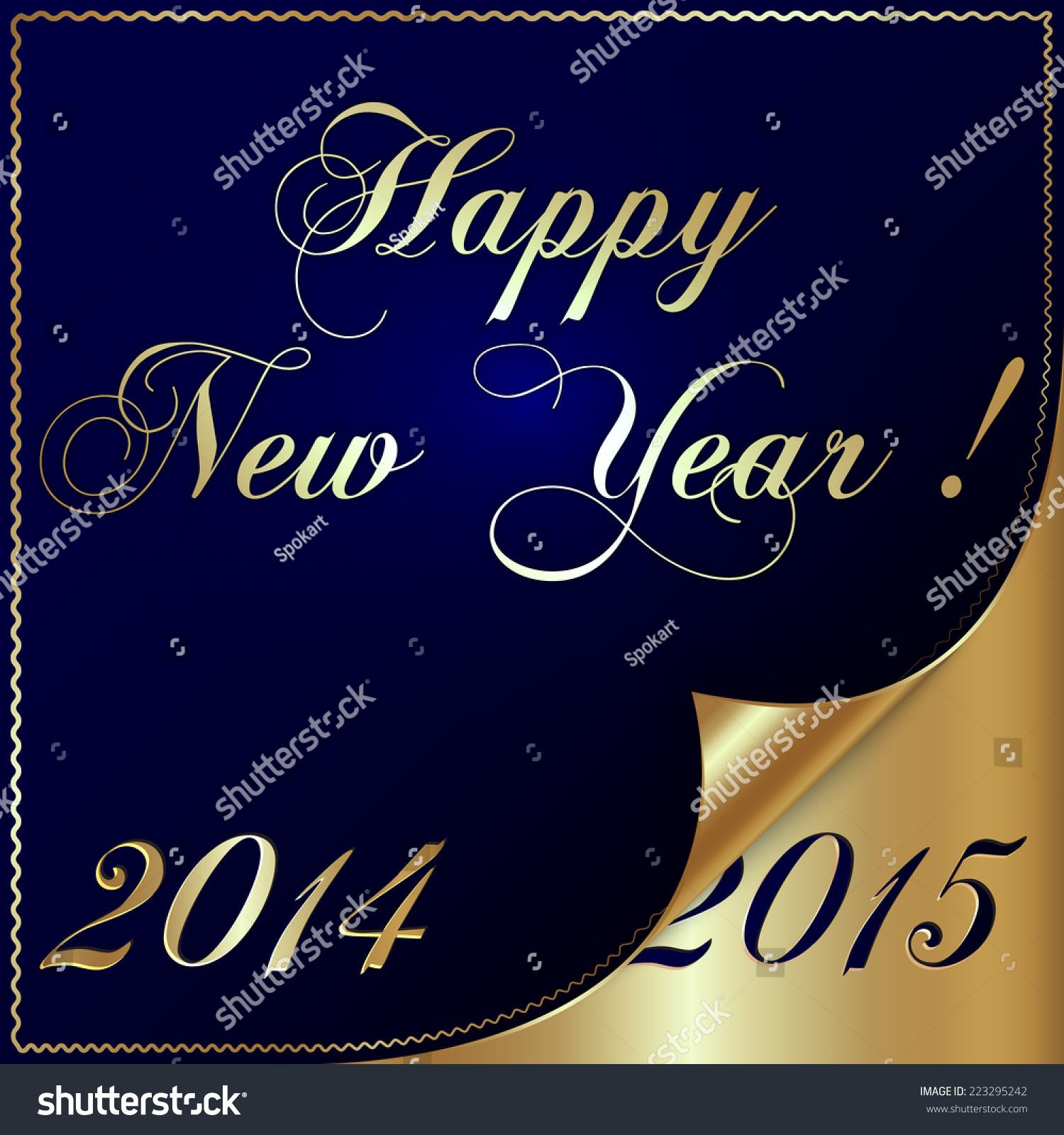 Illustration 2015 New Year Gold Blue Stock Illustration 223295242