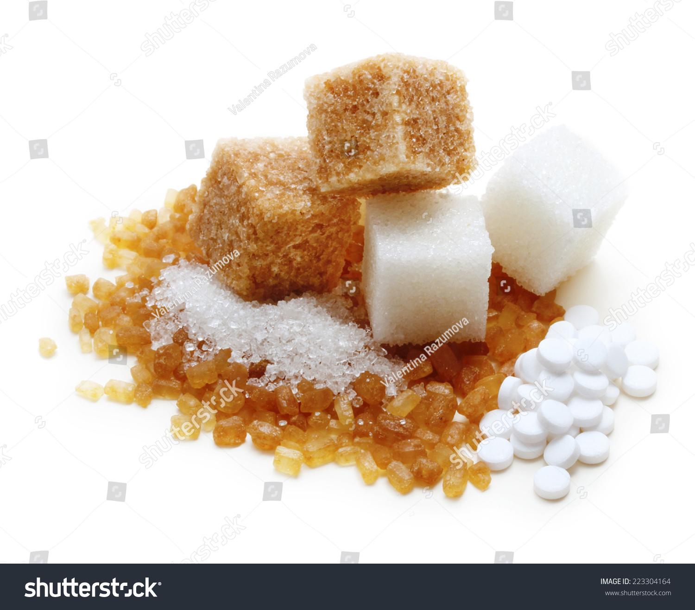 Brown White Cane Sugar Cubes And Sugar Substitute