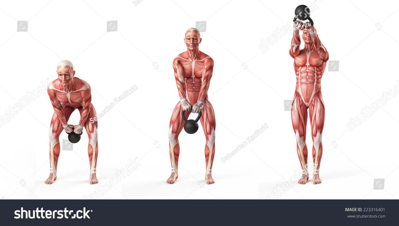 Kettlebell Exercise Side Step Swing Stock Illustration 223316401 ...