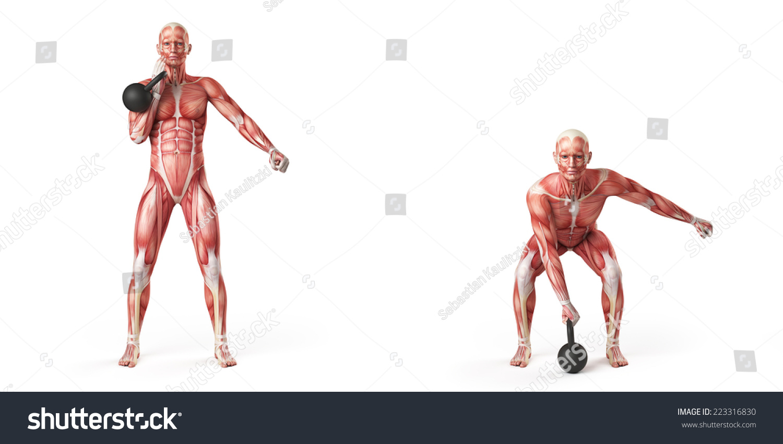 Kettlebell Exercise One Arm Kettlebell Clean Stock Illustration ...