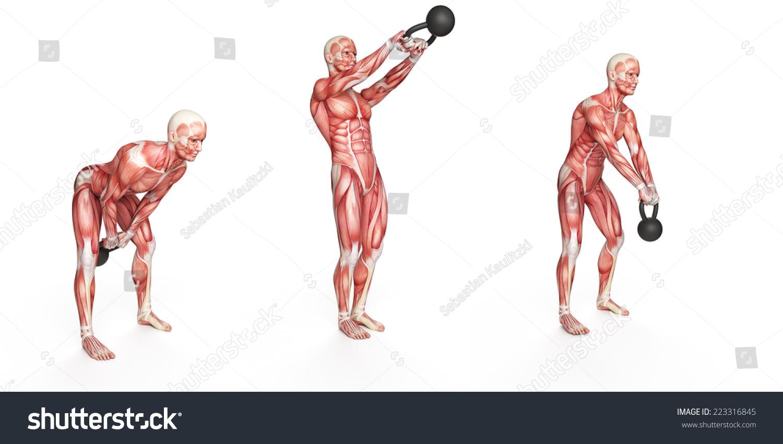 Kettlebell Exercise Side Step Swing Stock Illustration 223316845 ...
