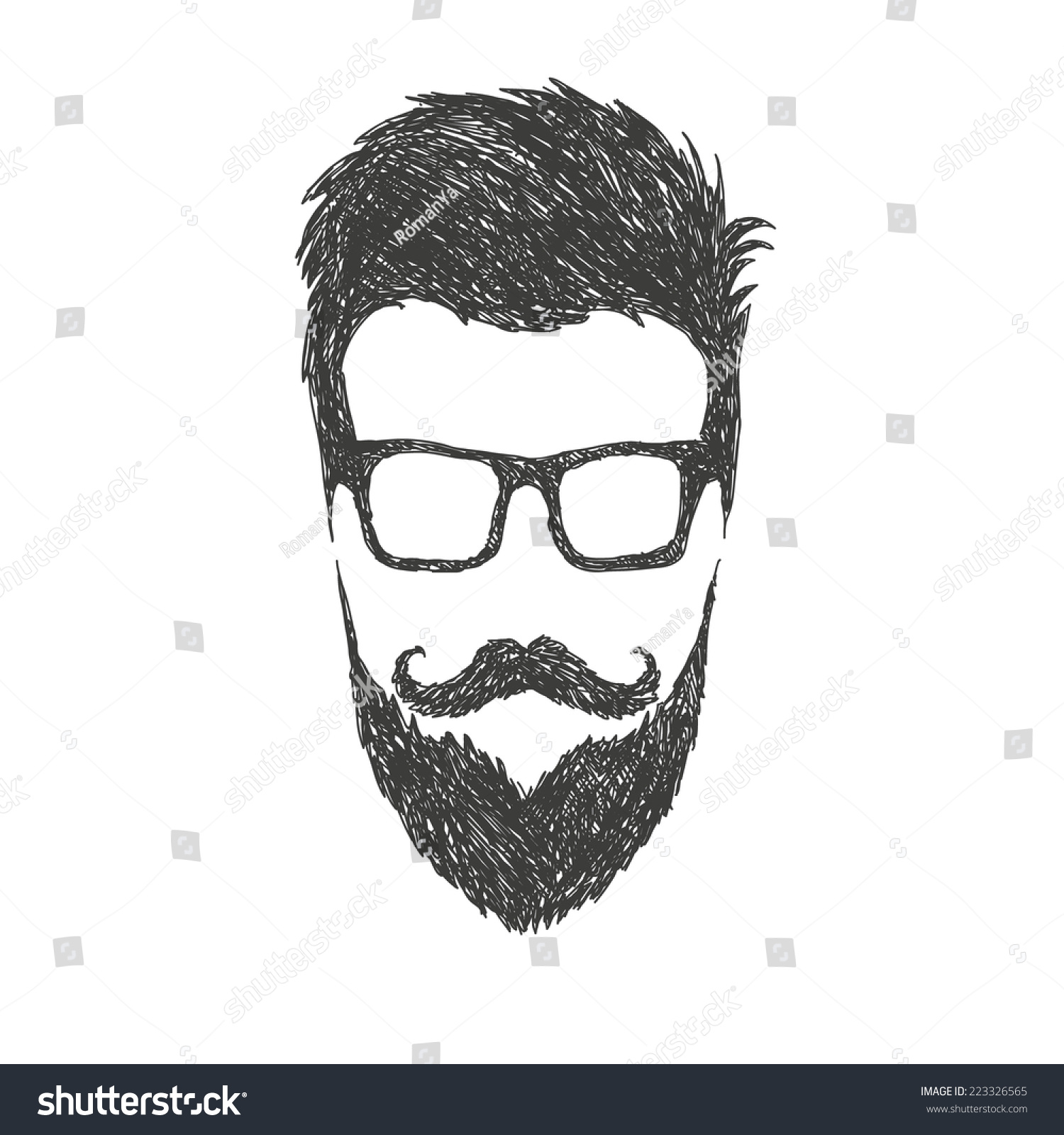 Fashion Silhouette Hipster Style Vector Illustration Stock