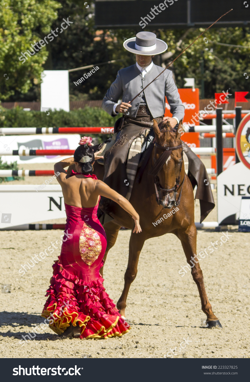 BARCELONA SPAIN OCTOBER 11 Flamenco Equestrian Exhibition at the 103rd CSIO event at the Real Club de Polo Barcelona on October 11 2014 in Barcelona Spain