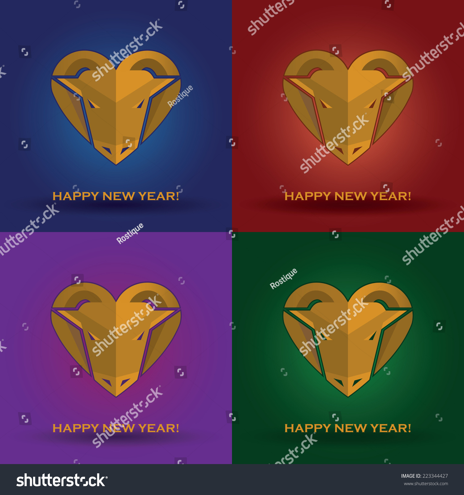 set of new year cards with romantic wooden goats heads with horns like heart on the