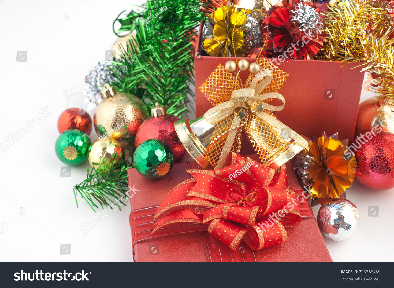 christmas gift box with decorations and color ball isolated on white background ez canvas - Christmas Gift Decorations
