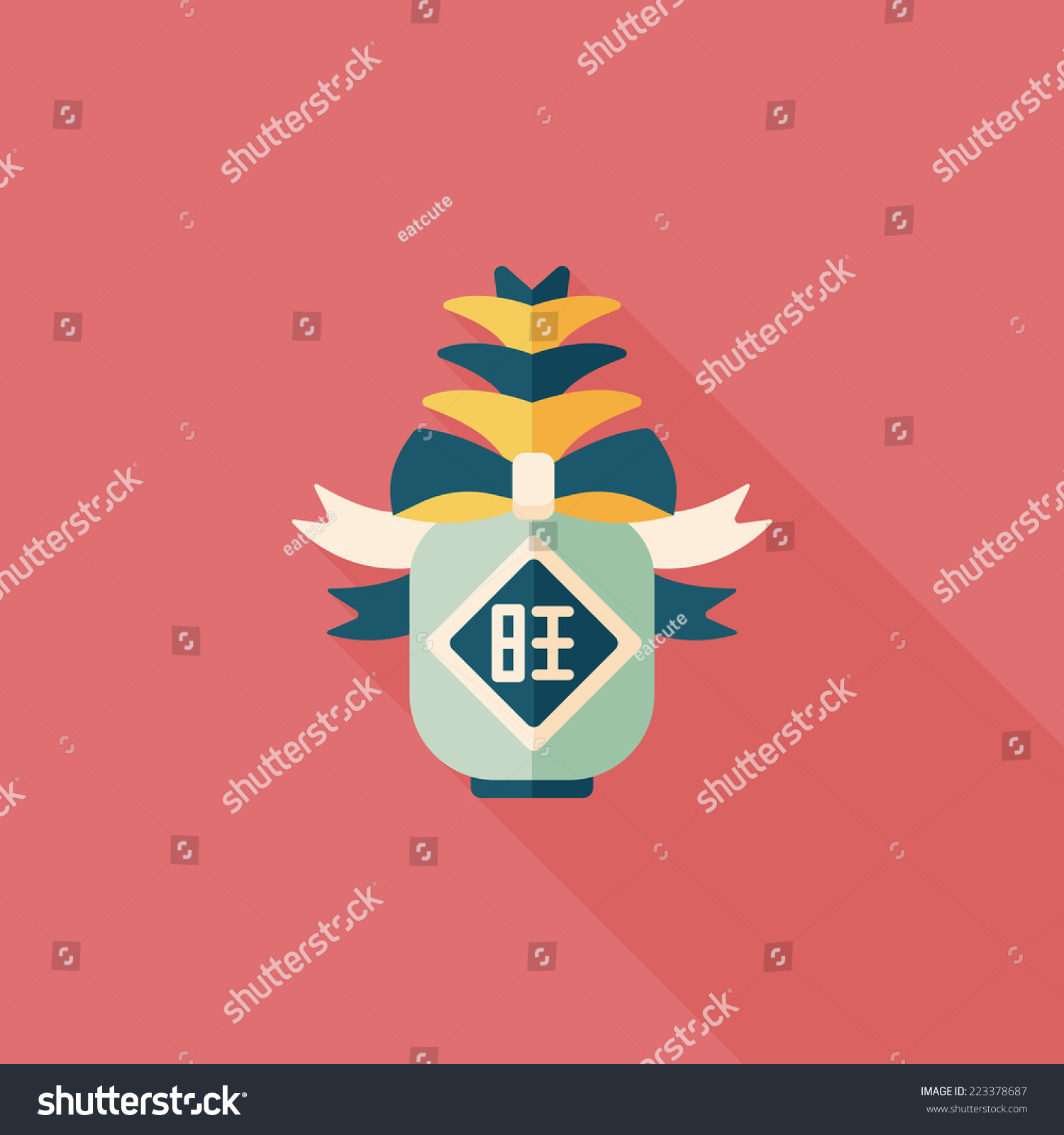 Chinese new year flat icon long stock vector 223378687 shutterstock chinese new year flat icon with long shadoweps10 when you send pineapple for buycottarizona Images