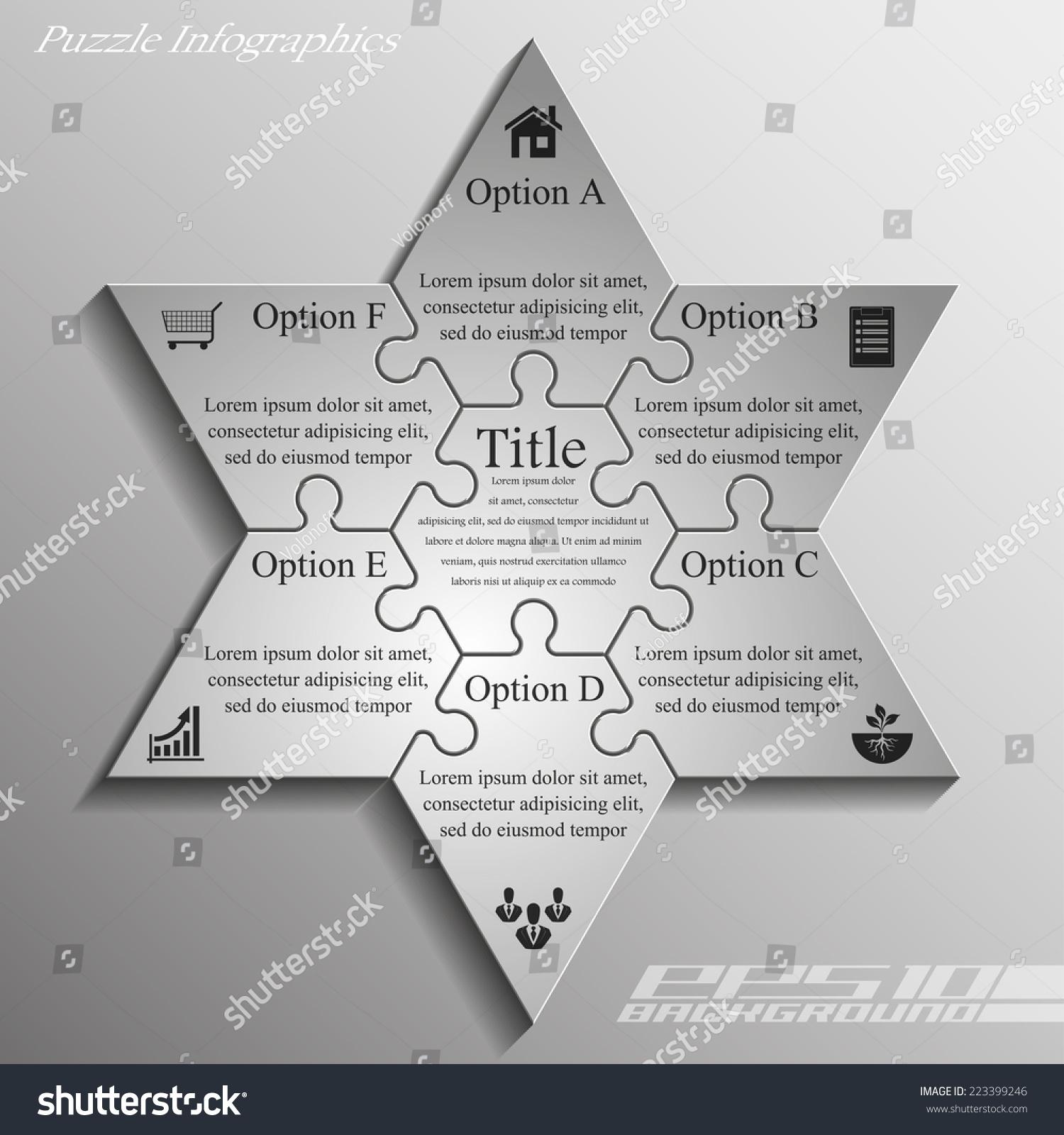 Star David Six Piece Flat Puzzle Stock Vector 223399246 - Shutterstock