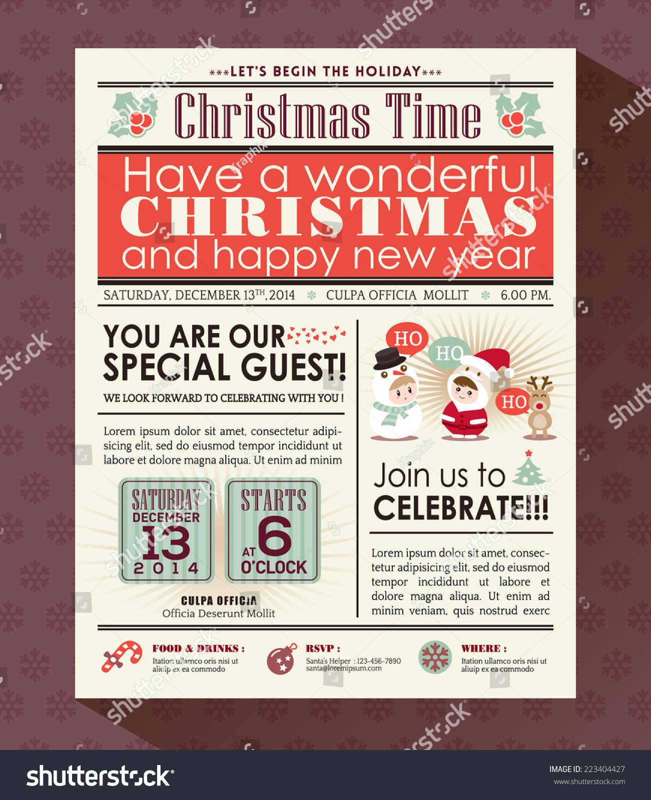 christmas party poster invite background newspaper stock vector christmas party poster invite background in newspaper style