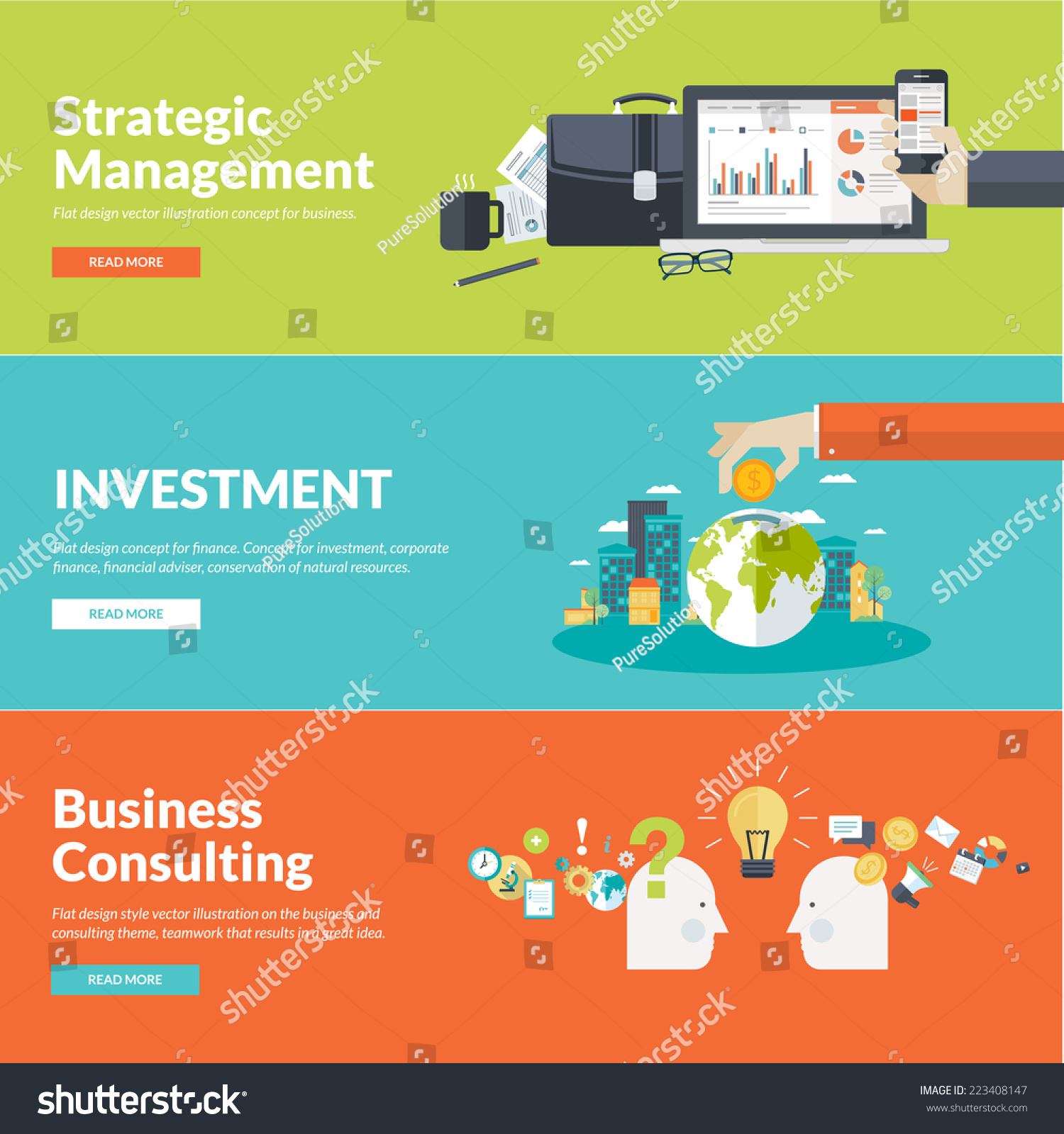 Promotional Images Management Stock Vector Flat Design Concepts For Business Finance