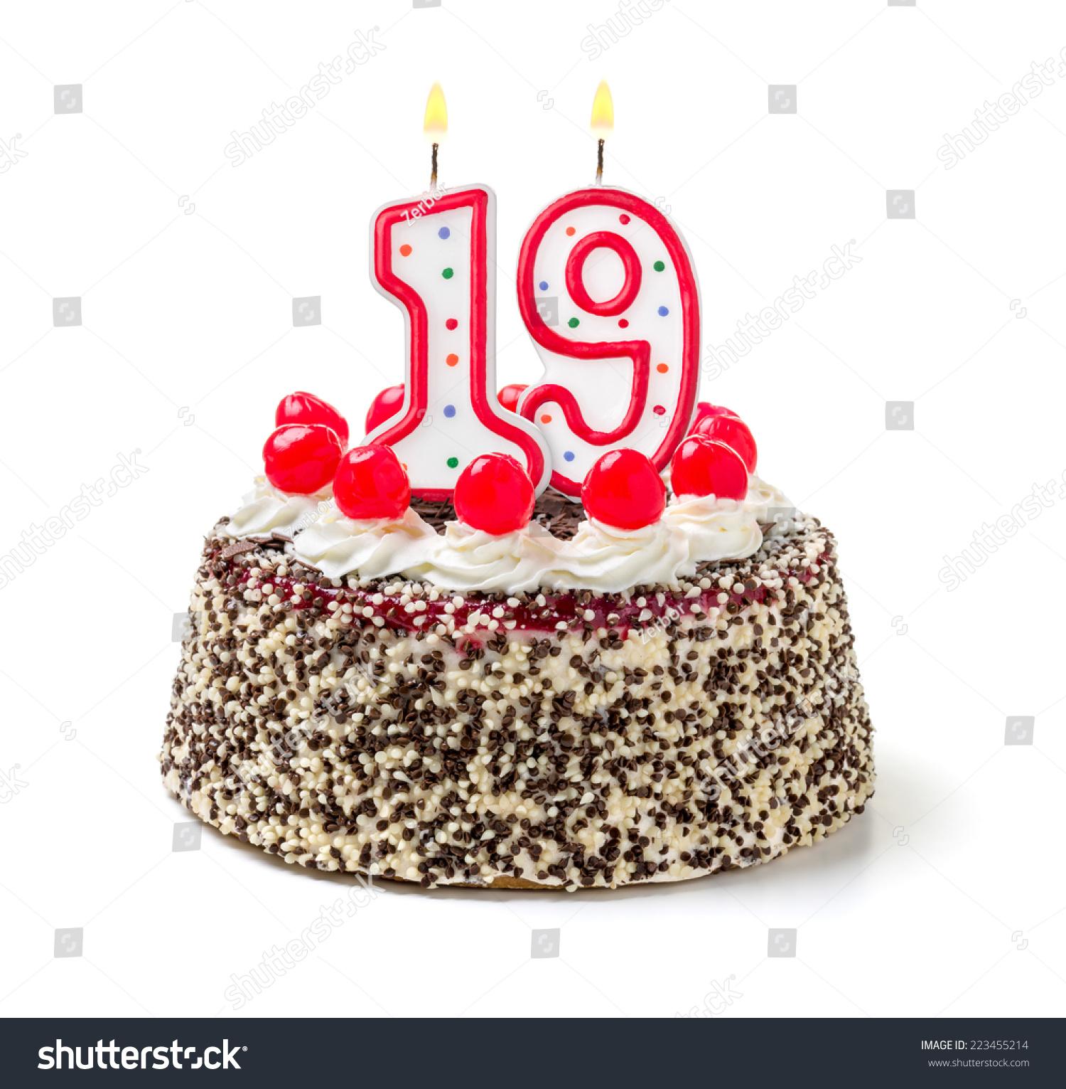 Birthday Cake Burning Candle Number 19 Stock Photo Edit Now