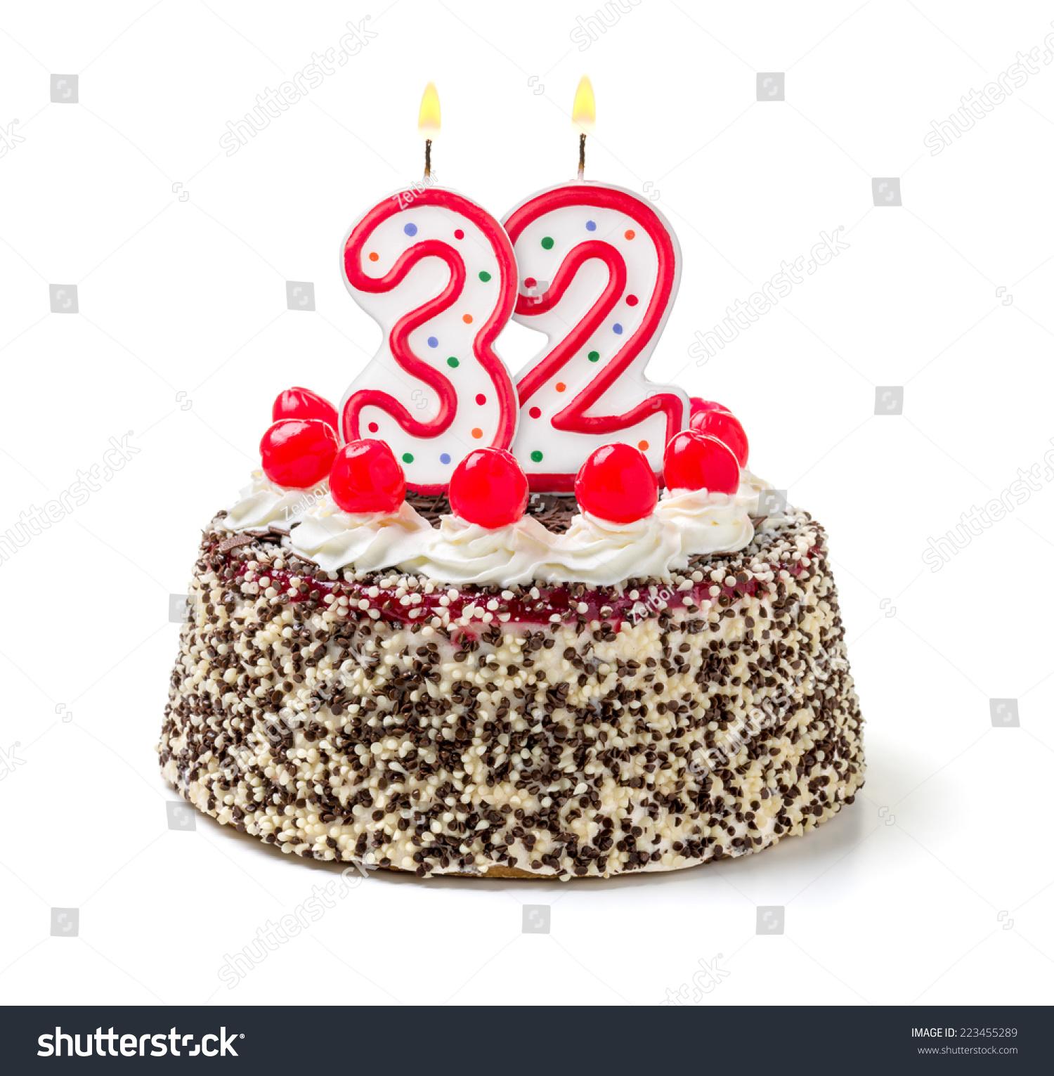 Birthday Cake Burning Candle Number 32 Stock Photo Edit Now