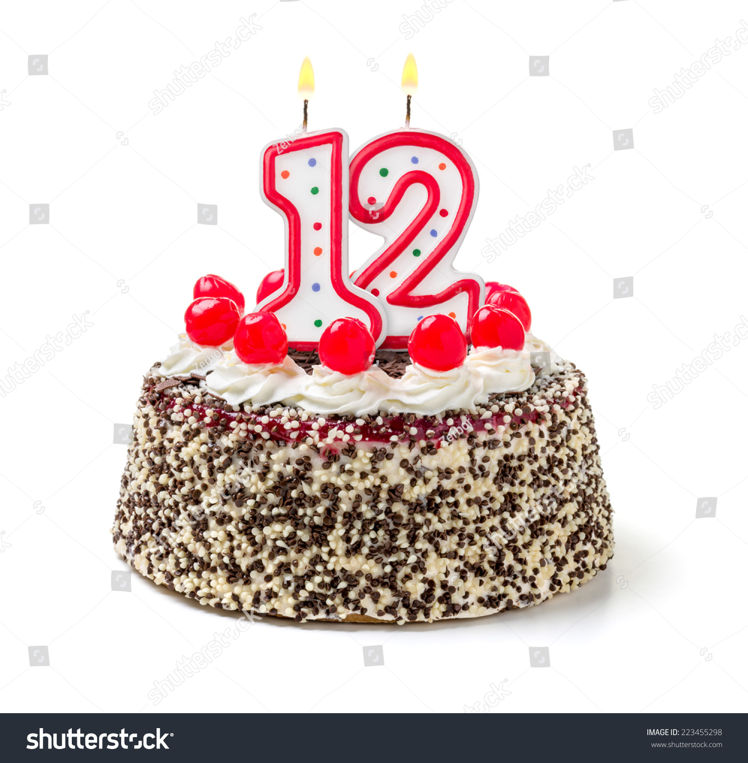 Birthday Cake Burning Candle Number 12 Stock Photo ...