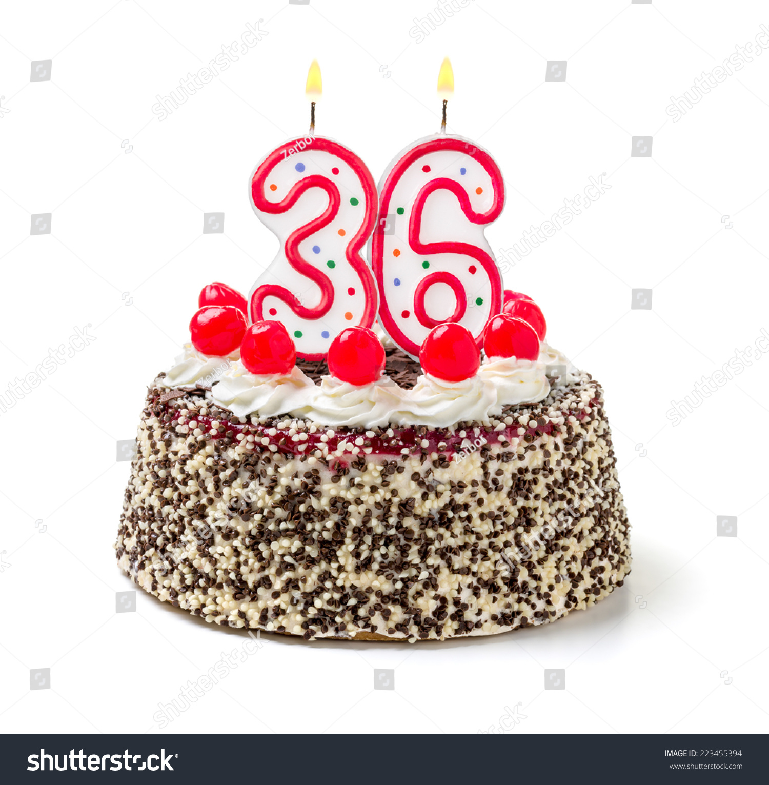 Birthday Cake Burning Candle Number 36 Stock Photo