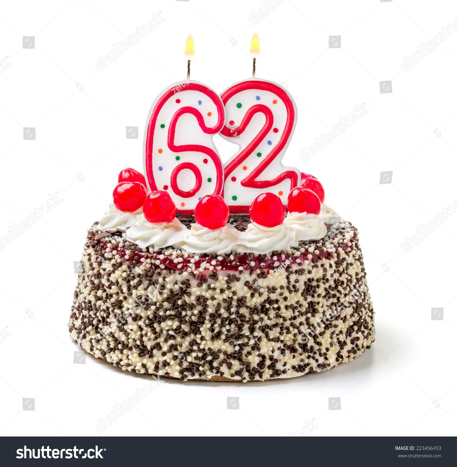 Birthday Cake With Burning Candle Number 62 Stock Photo