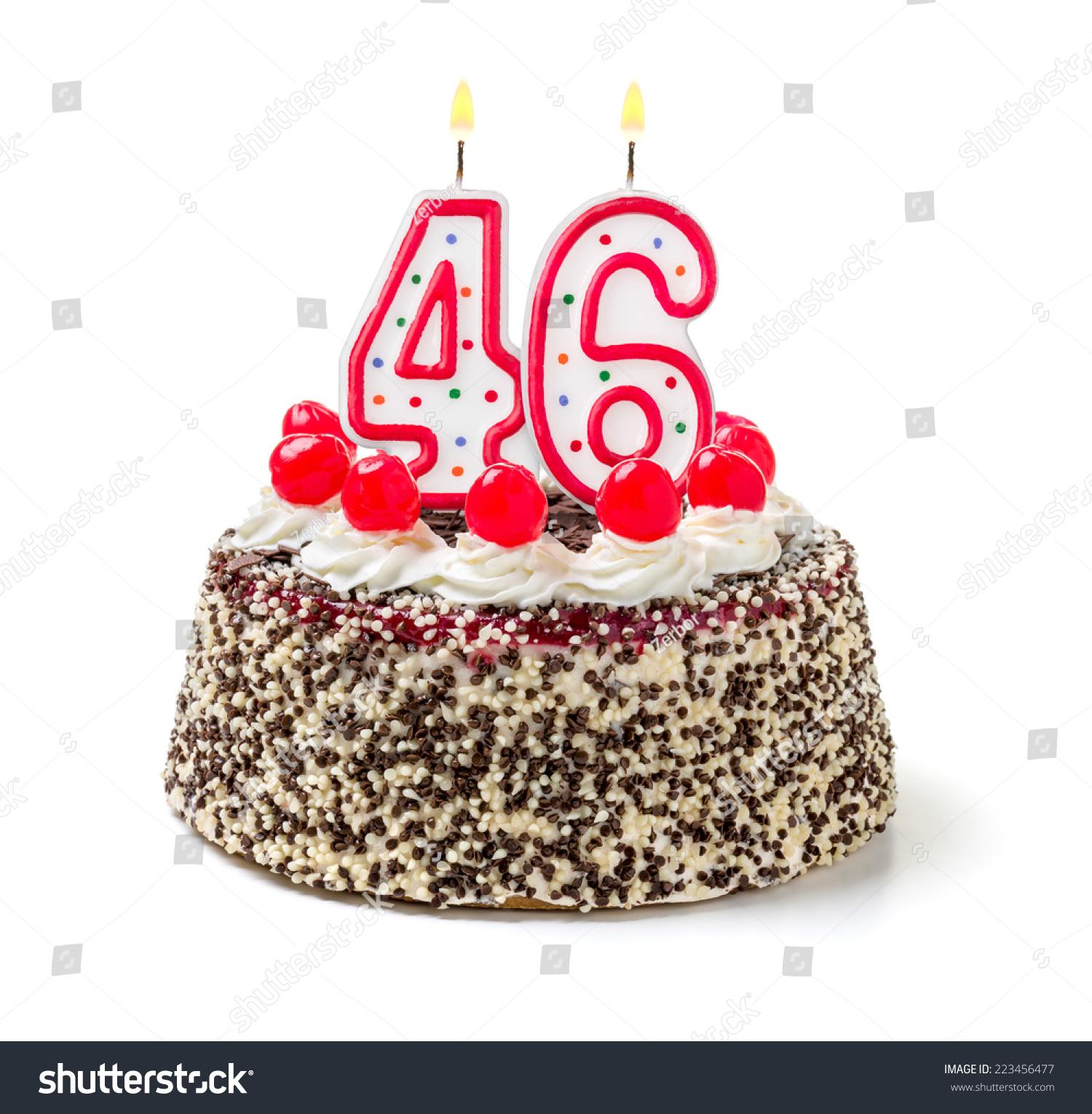 Birthday Cake Burning Candle Number 46 Stock Photo