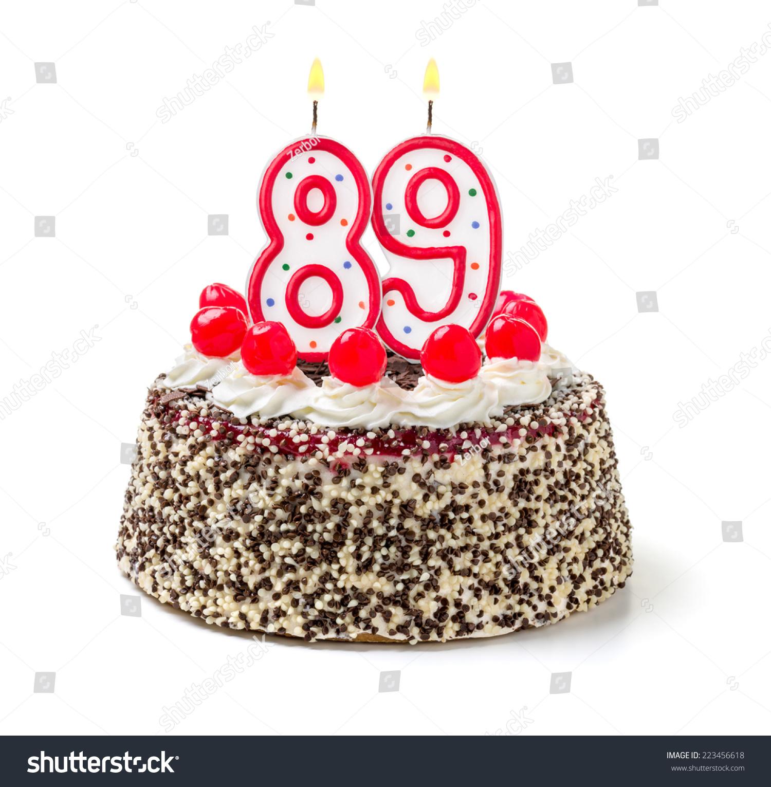 Birthday Cake Burning Candle Number 89 Stock Photo Edit Now