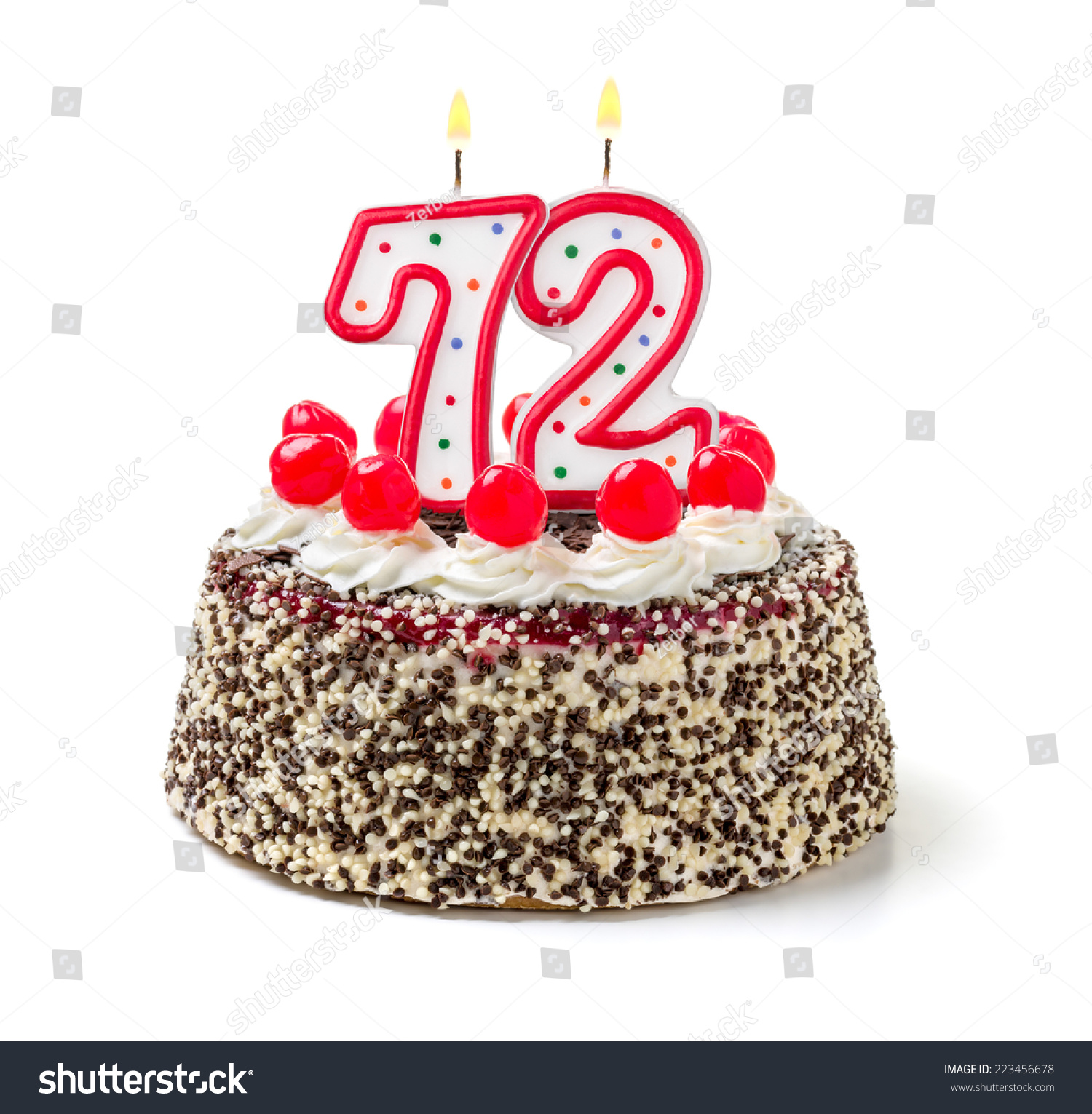 stock photo birthday cake with burning candle number 223456678 birthday cake wishes for facebook 6 on birthday cake wishes for facebook