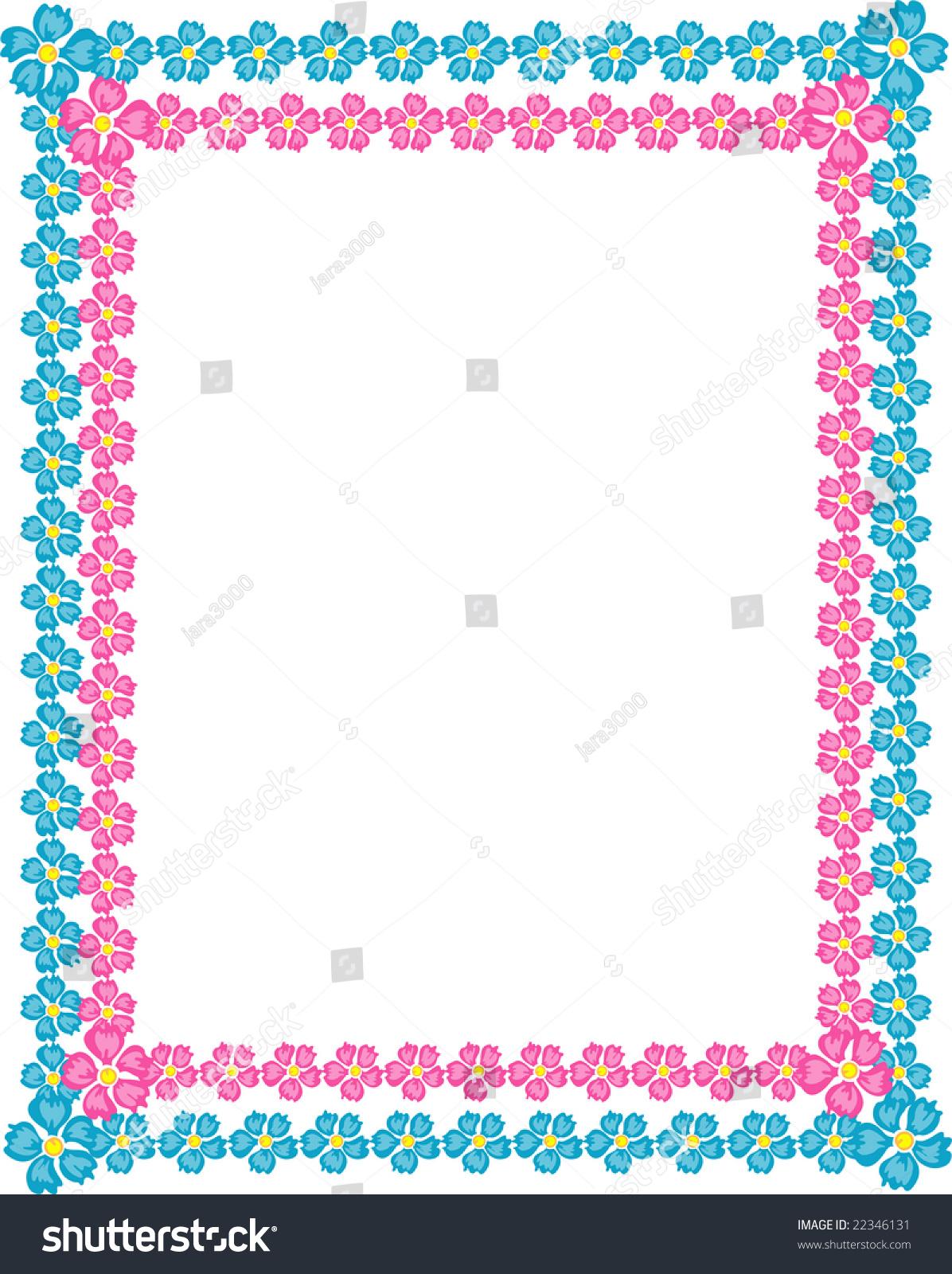 Floral Border Frame Pink Blue Stock Vector 22346131 ...