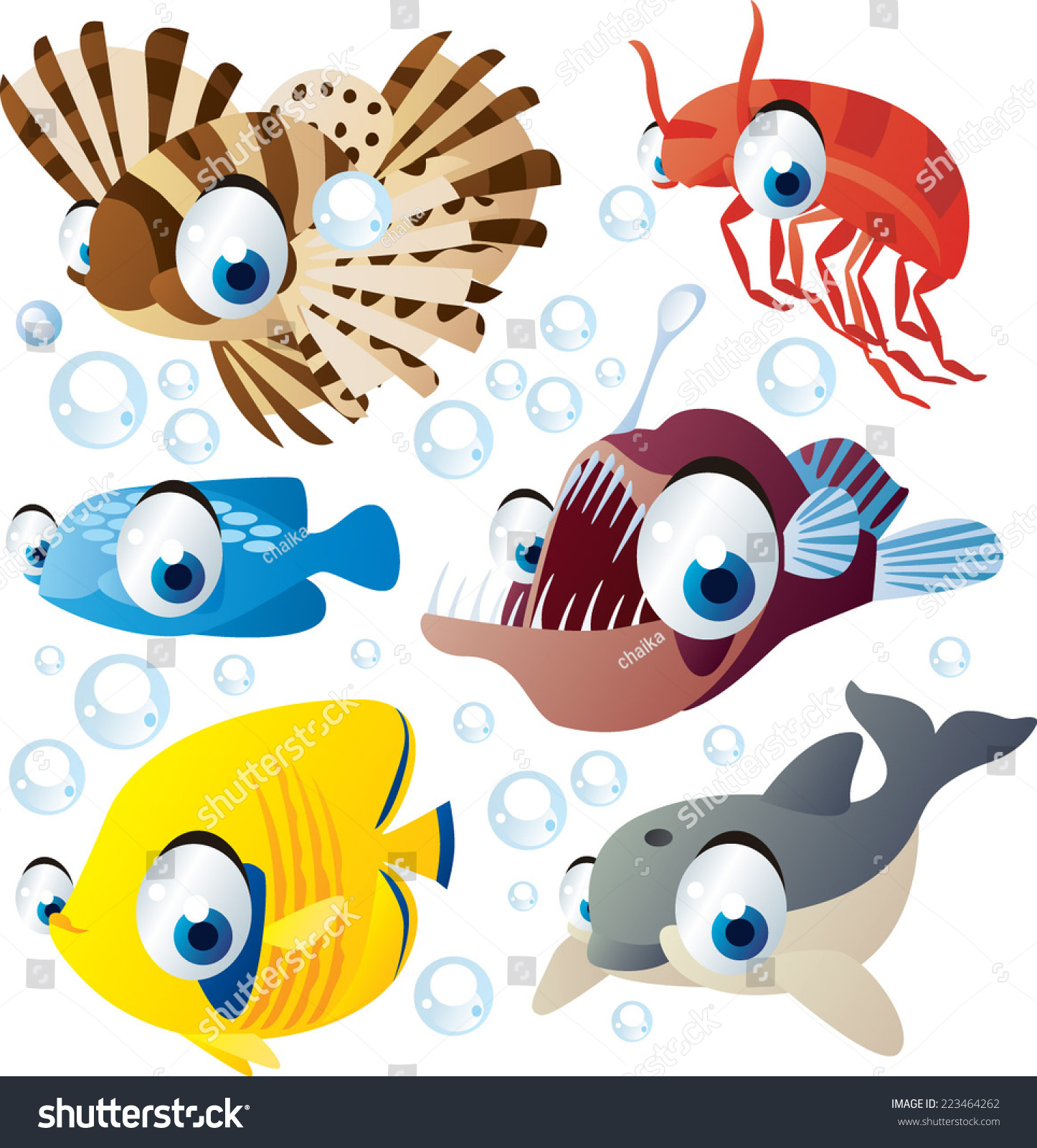 vector cartoon sea animal set zebra fish shrimp angler dolphin