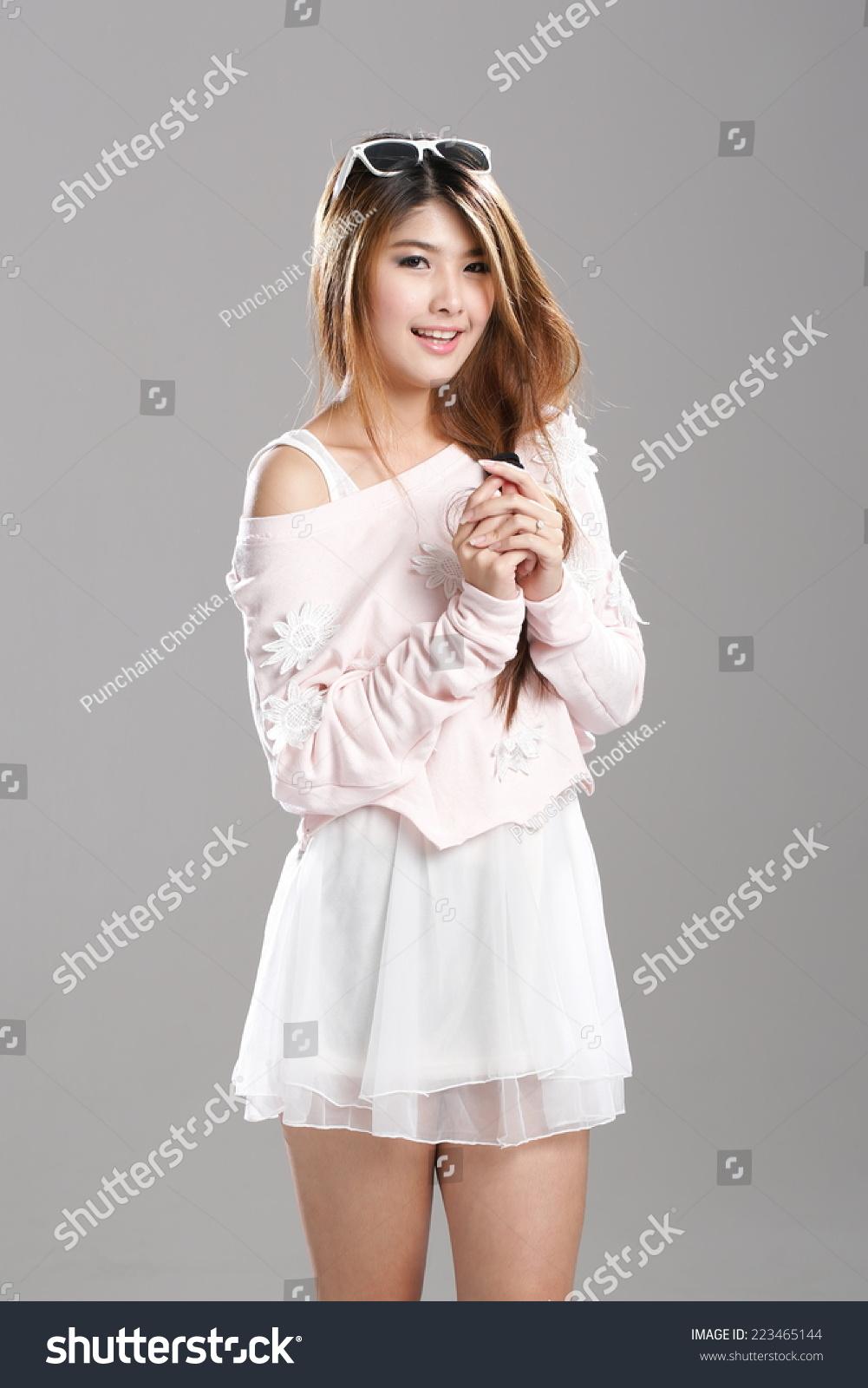 Asian Woman Posing Strapless Tube Top Stock Photo Edit Now 223465144