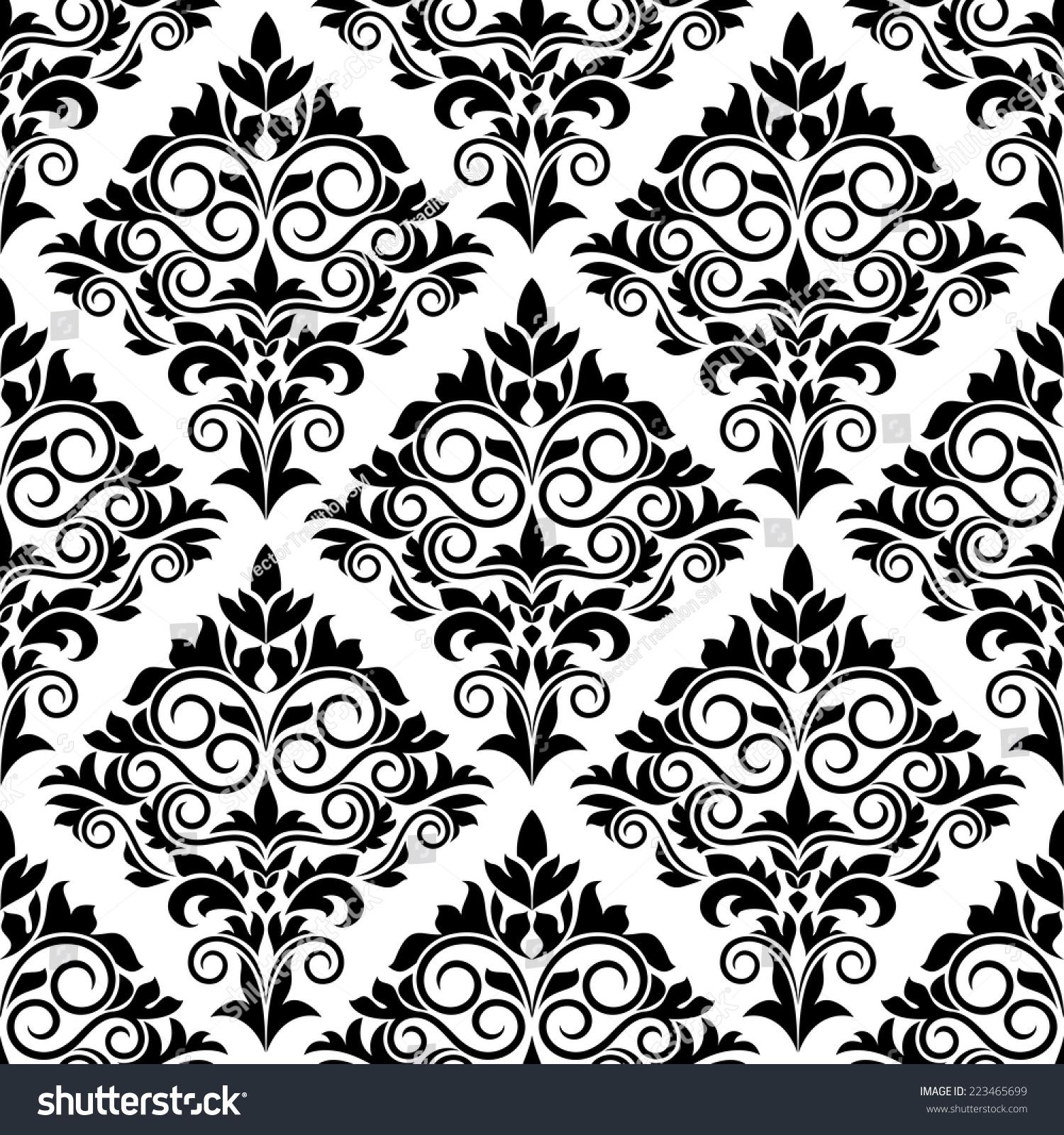 black white arabesque design scrolls leaves stock vector. Black Bedroom Furniture Sets. Home Design Ideas