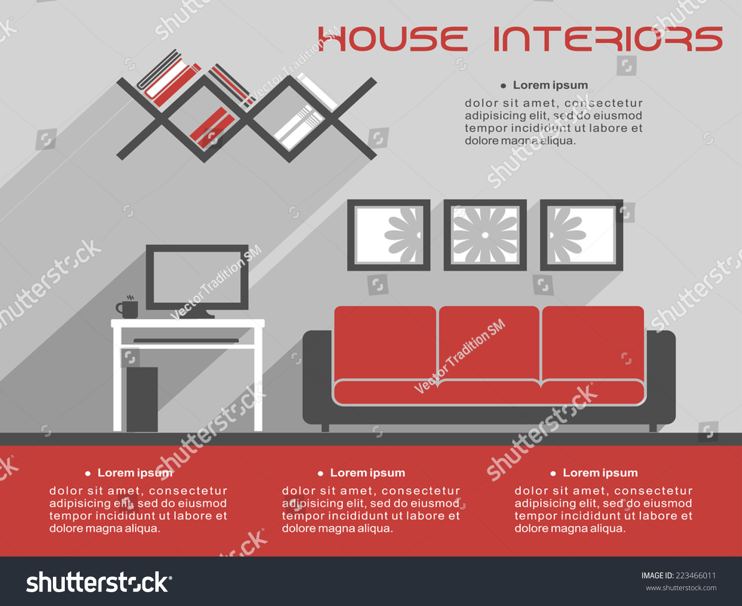 House interior design infographic template showing stock vector house interior design infographic template showing a vector living room with a television sofa and pronofoot35fo Image collections