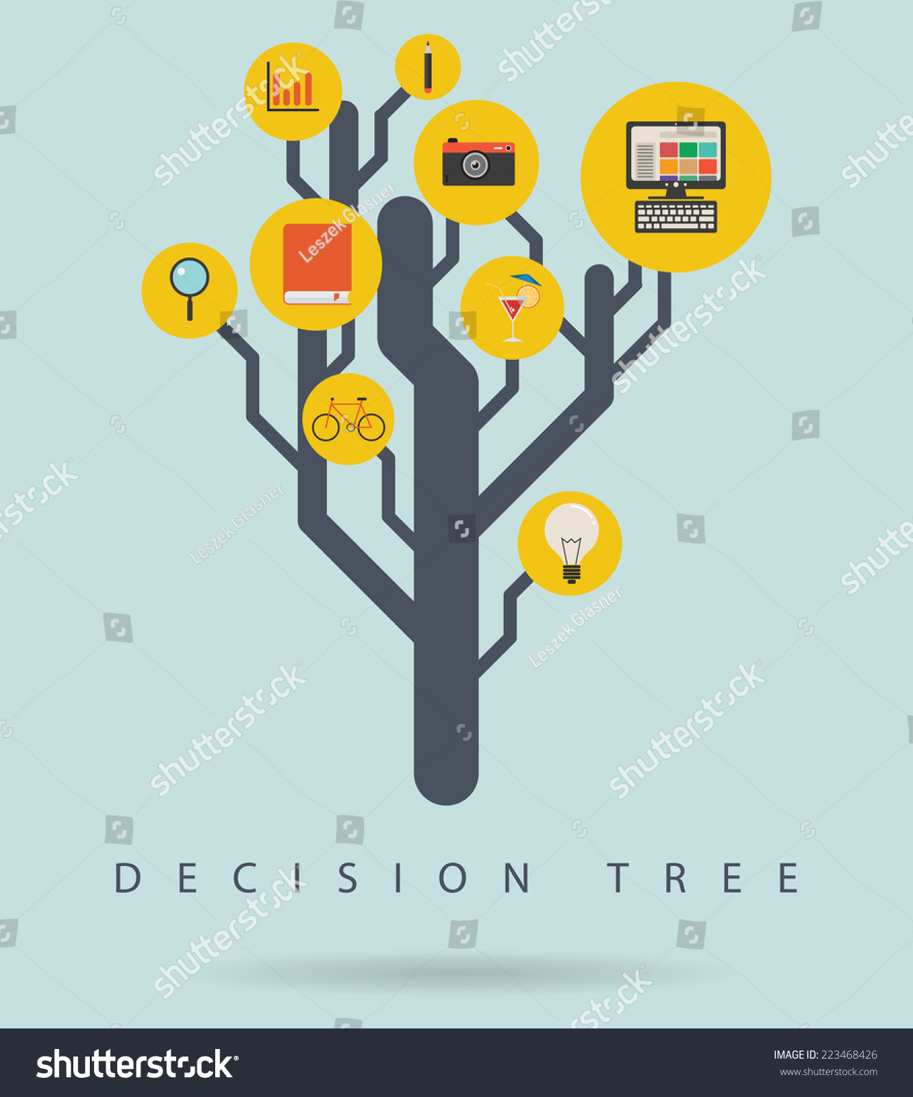 decision tree infographic diagram icons vector stock. Black Bedroom Furniture Sets. Home Design Ideas