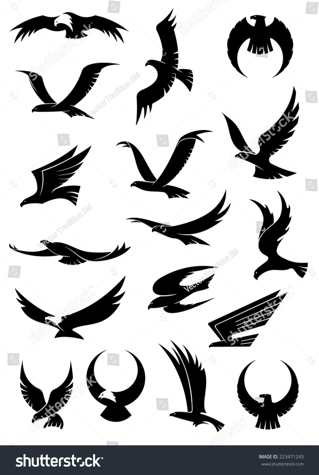 Different Positions Showing - Love With Woman Flying Hawk Silhouette Vector