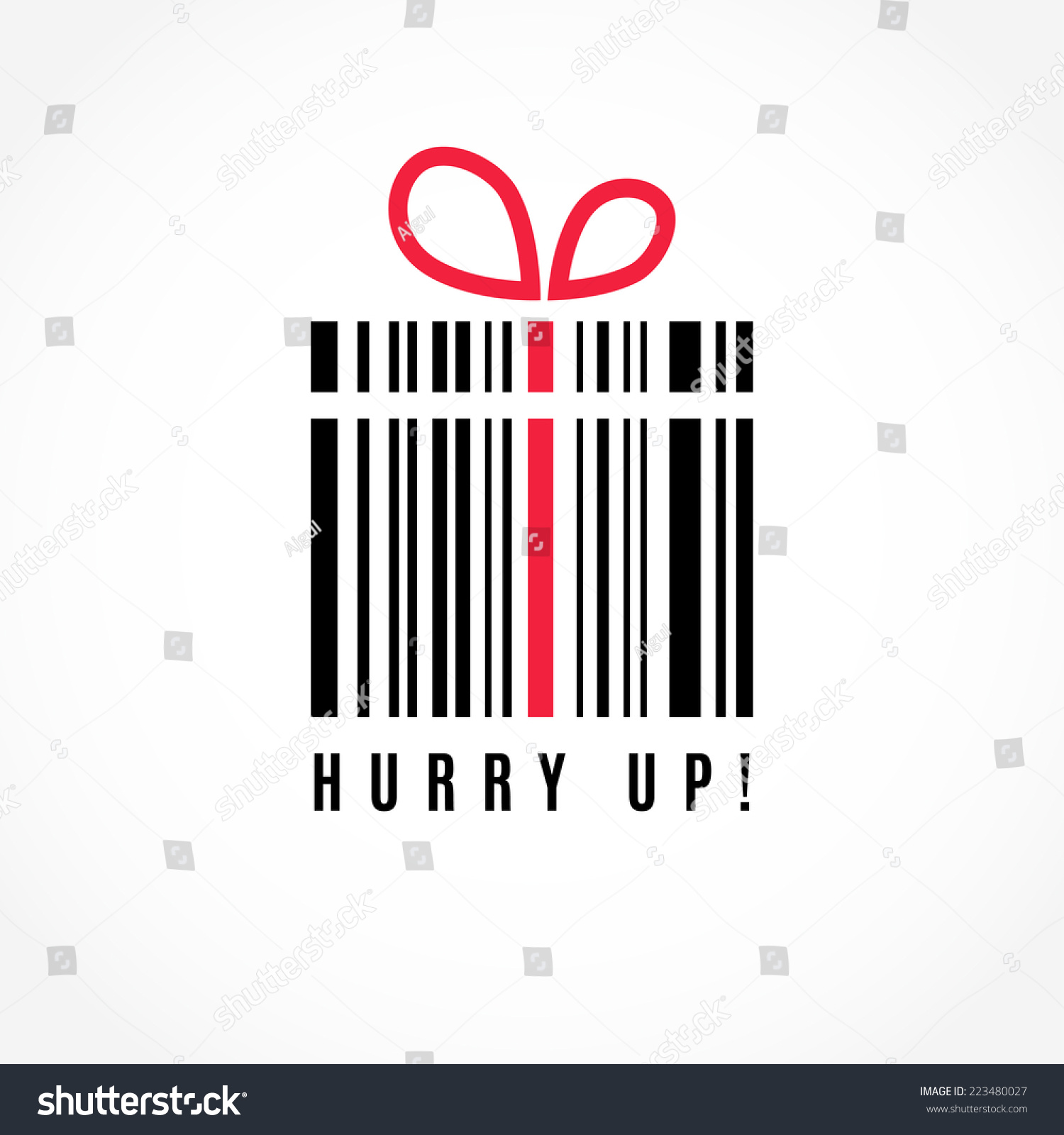 Hurry up! Discount. Present barcode vector image. Logo design.