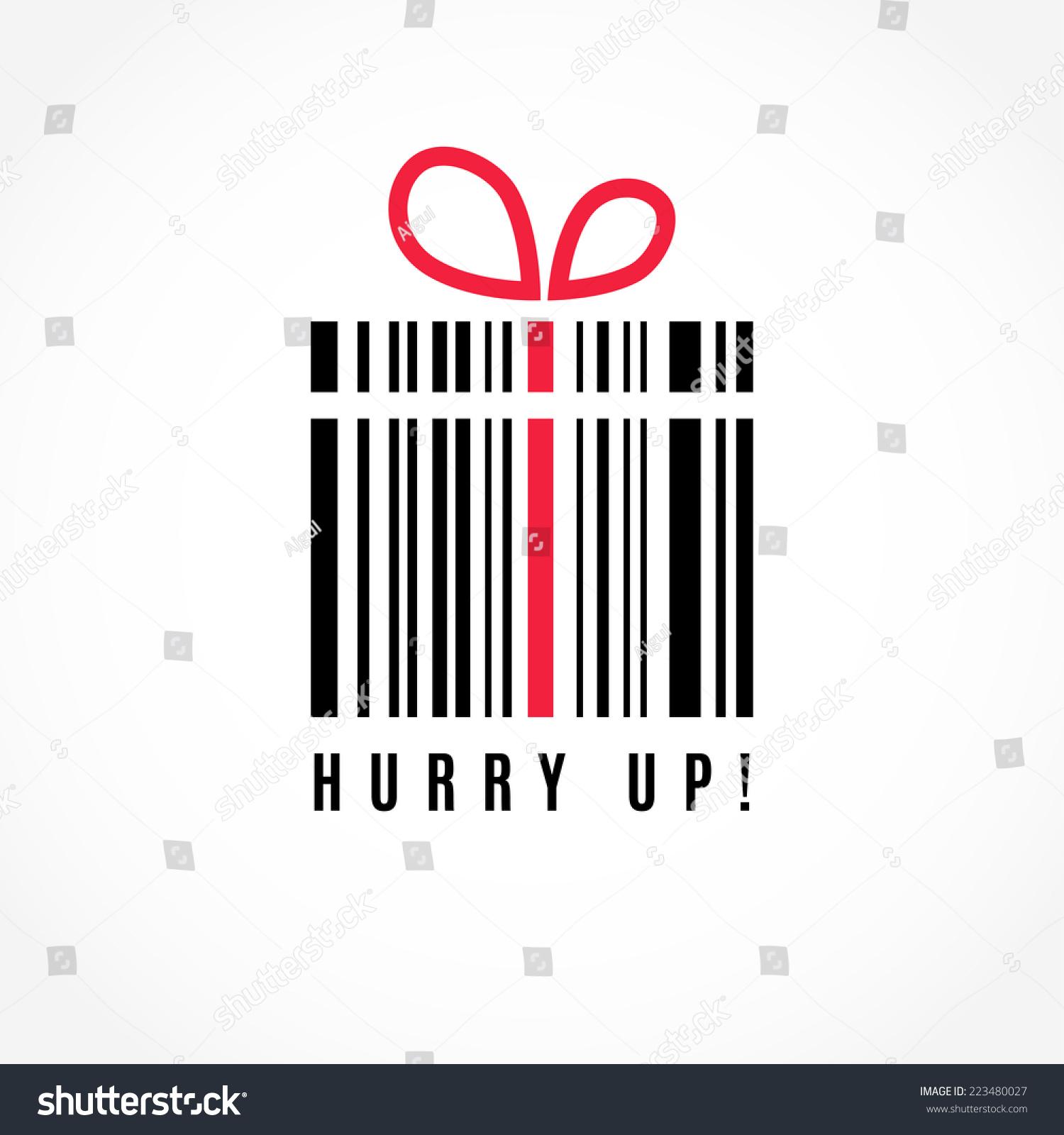 Hurry up discount present barcode vector stock vector for Cheap logo