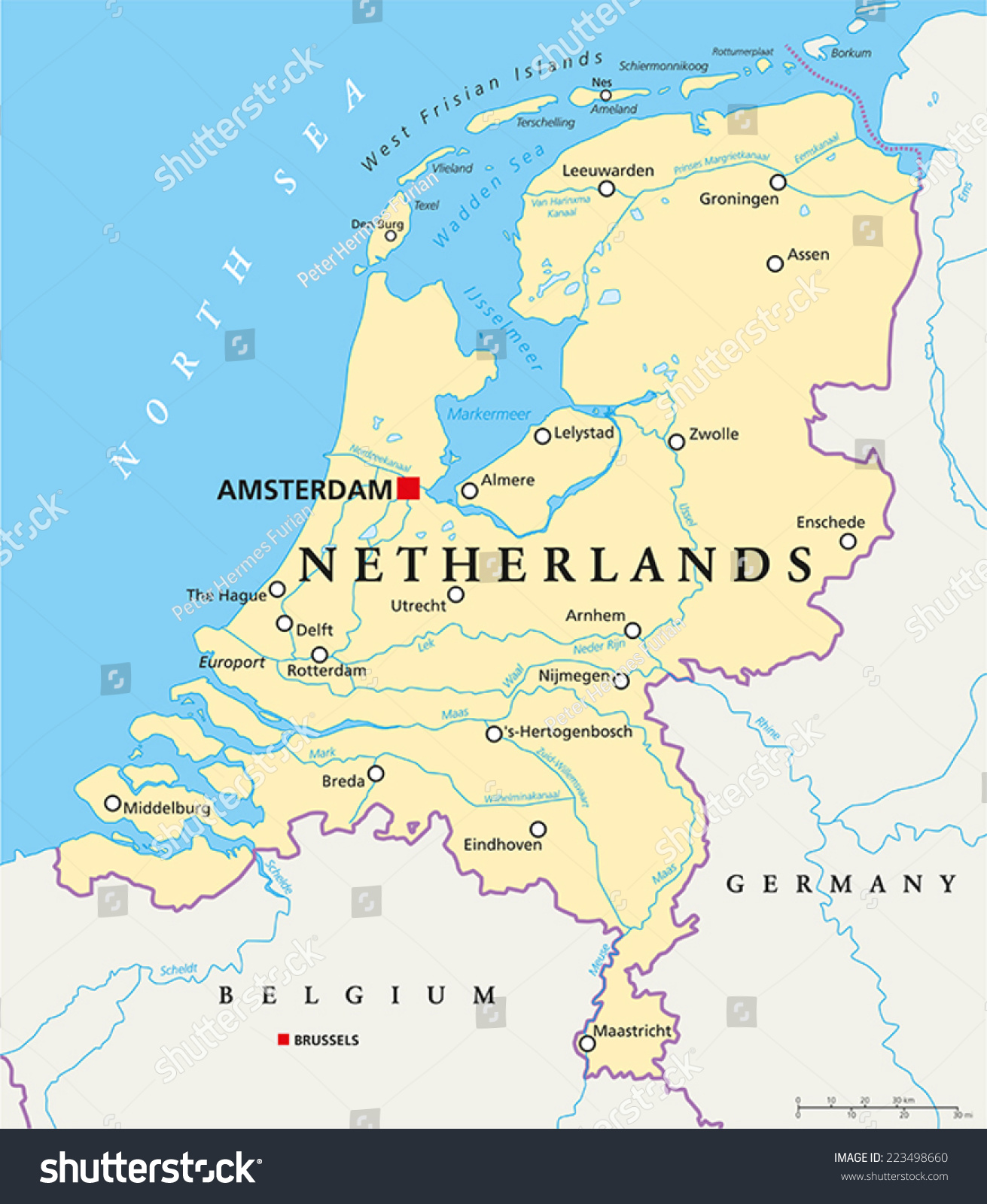 Netherlands political map capital amsterdam national stock vector netherlands political map with capital amsterdam national borders most important cities rivers and gumiabroncs Choice Image