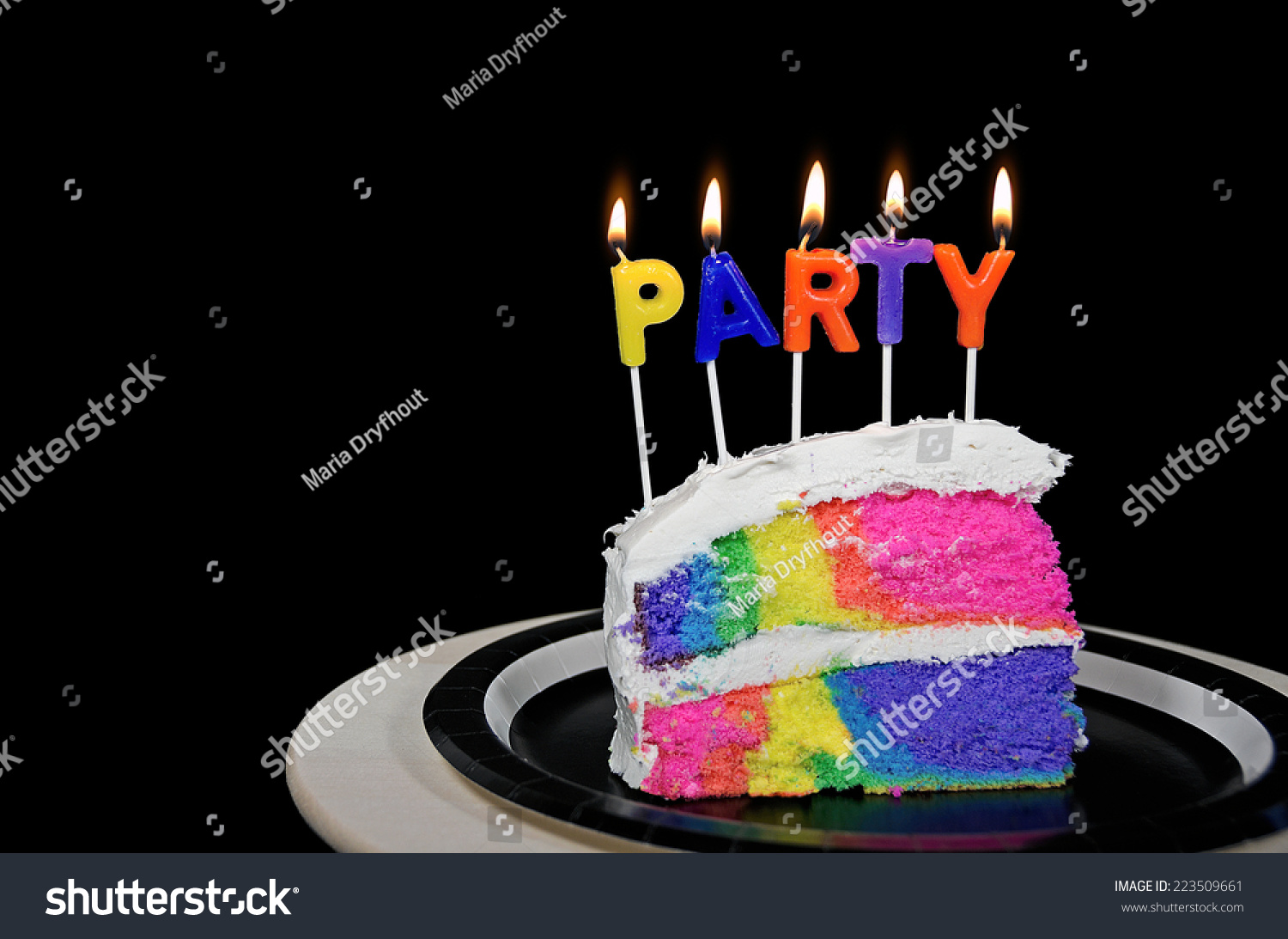 Rainbow Birthday Cake Party Candles On Stock Photo Edit Now