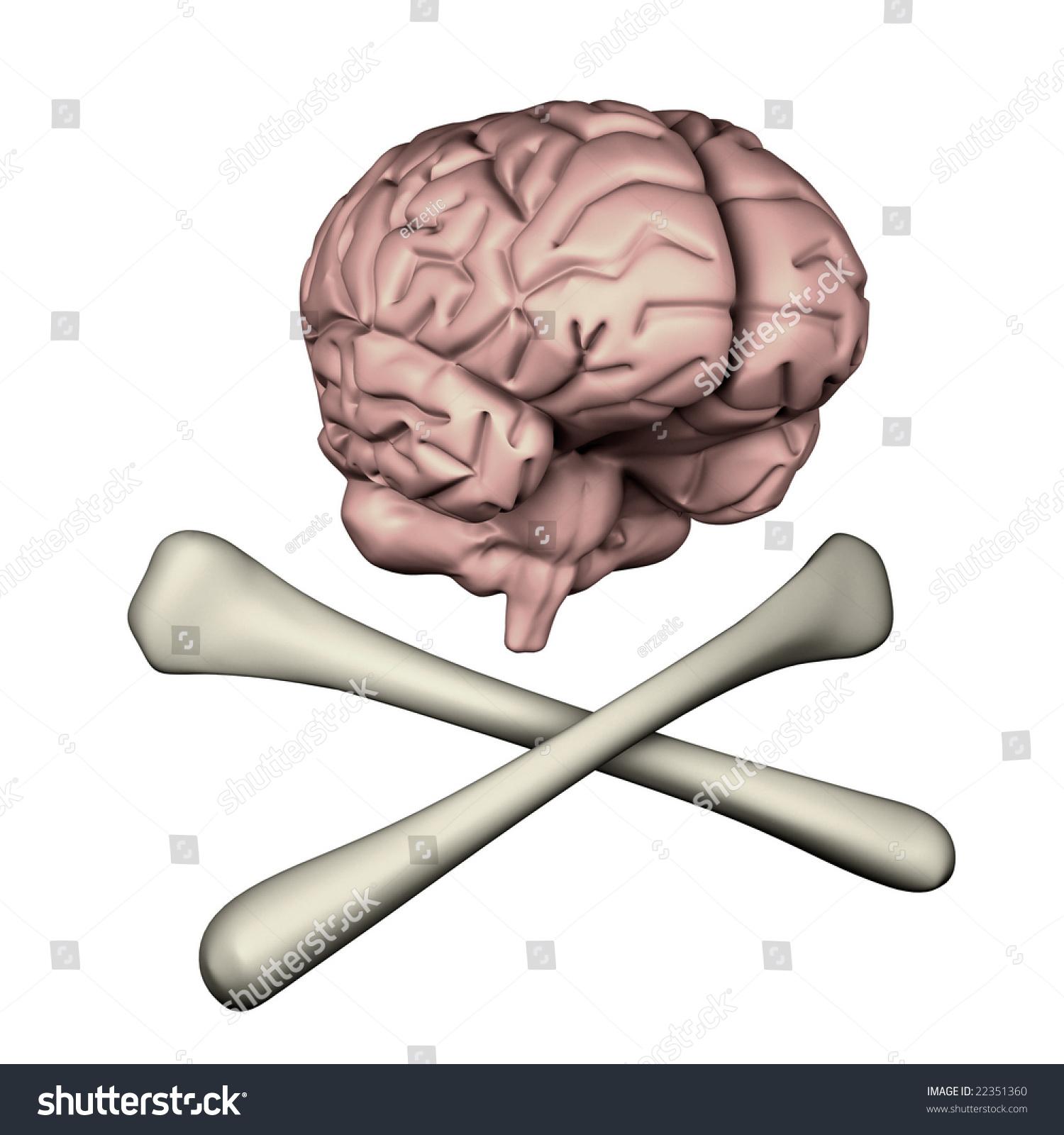 Cross Bones Brain On White Background Stock Illustration Royalty