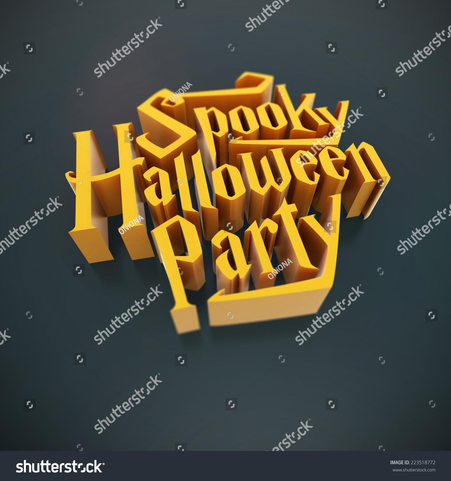 spooky halloween party pumpkin orange letters stock illustration