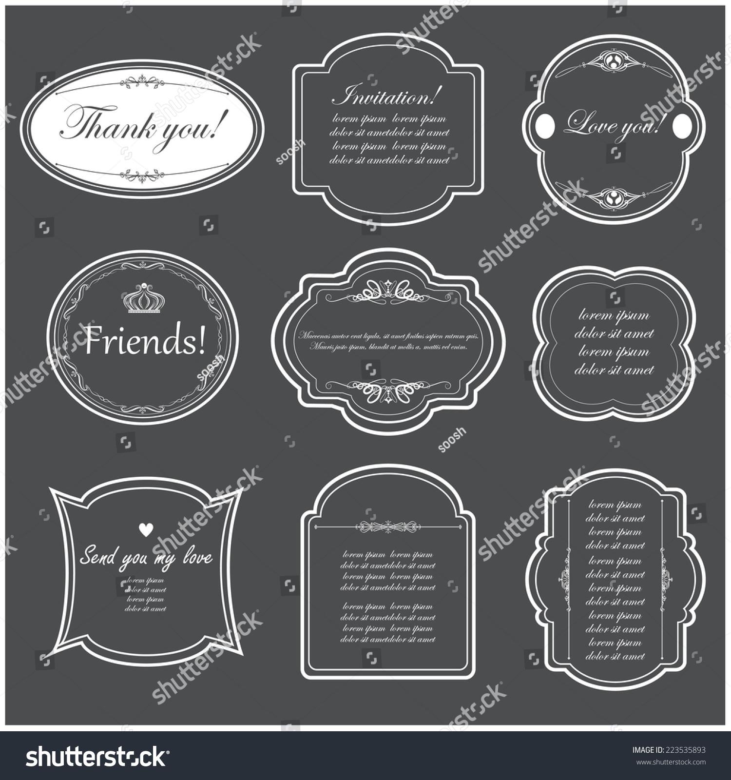 Vector Illustration Design Frames Wedding Invitations Stock Vector ...