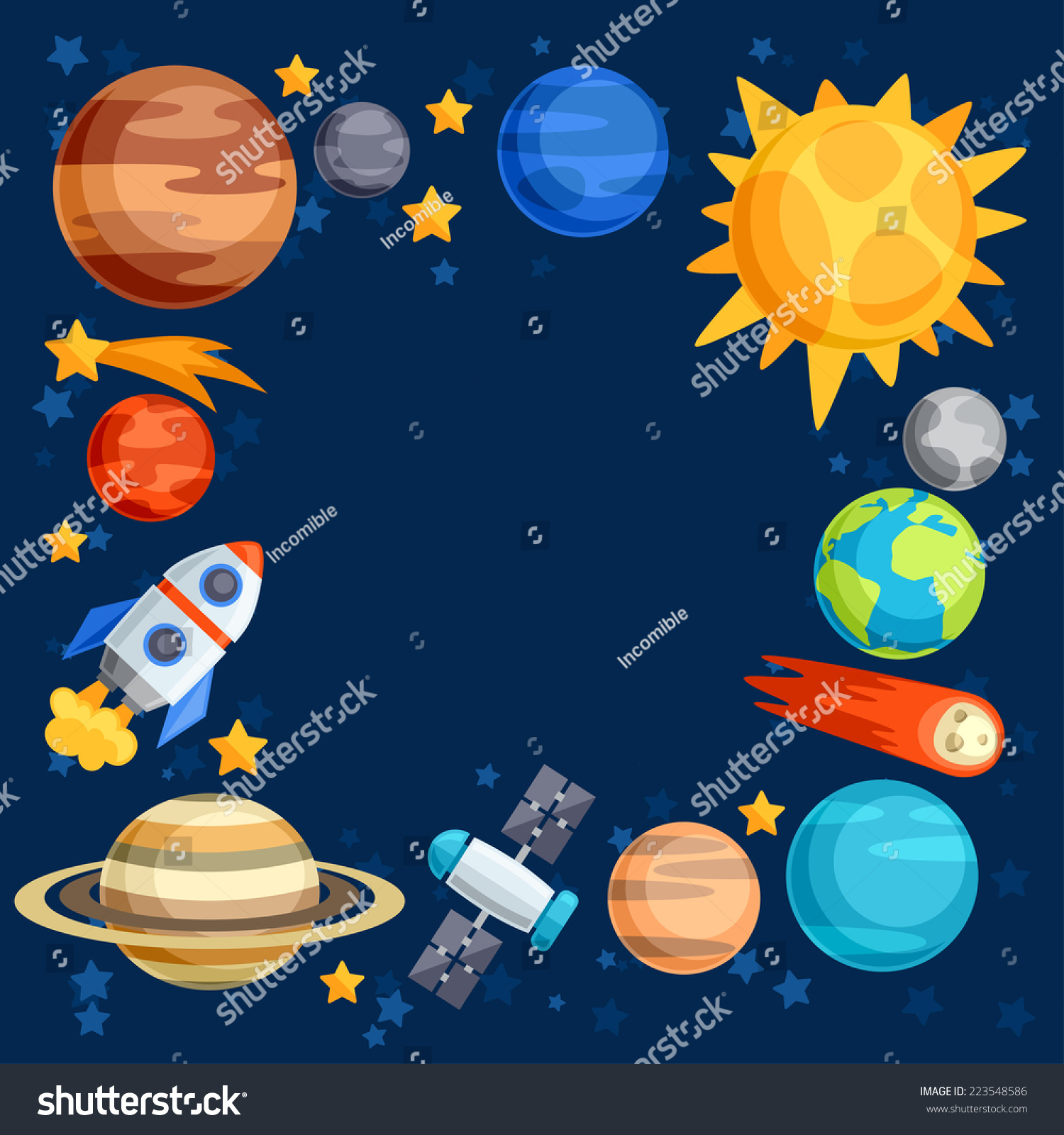 Background Solar System Planets Celestial Bodies Stock ...