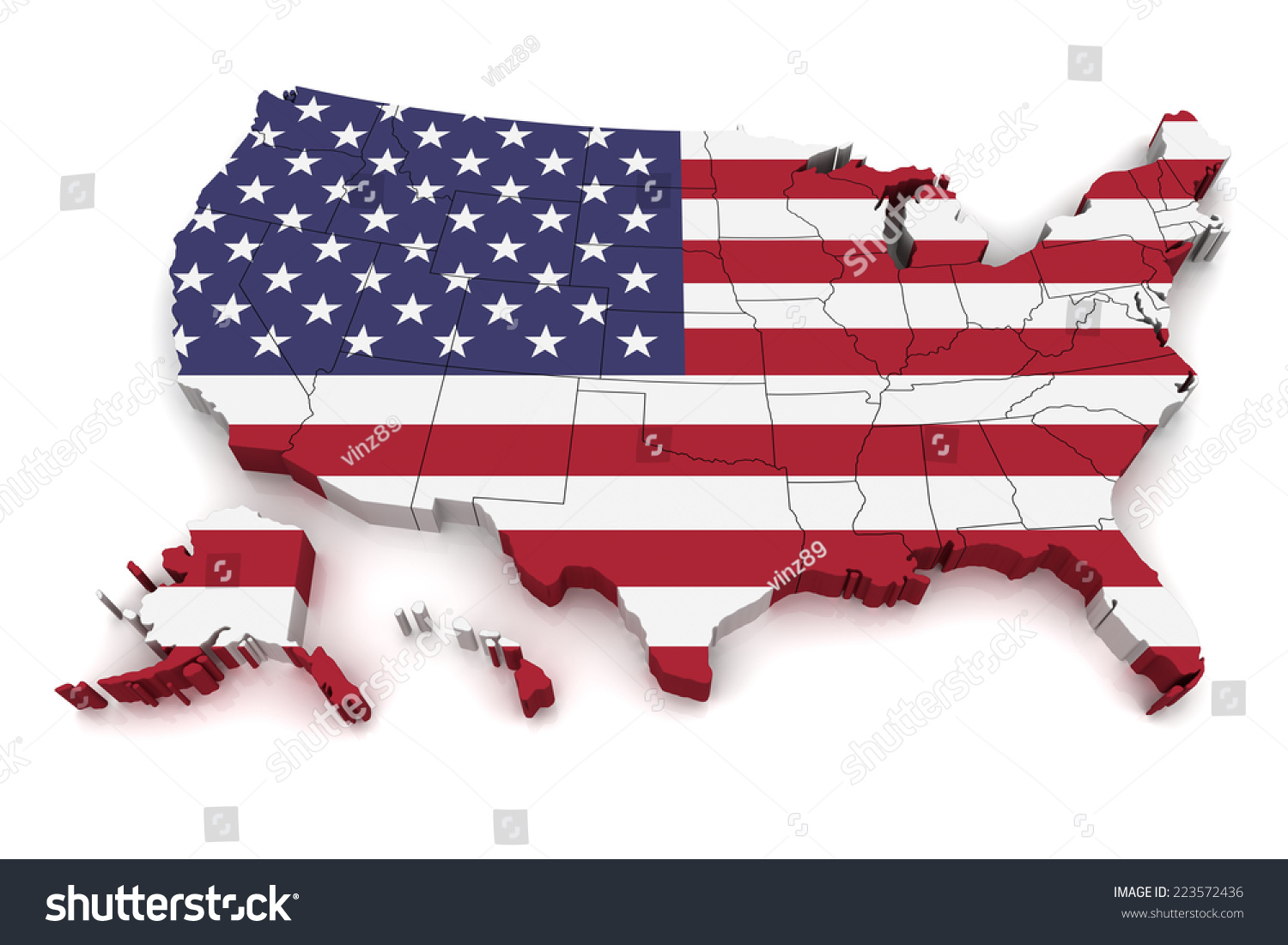 D Map United States America Stock Illustration - Us 3d map