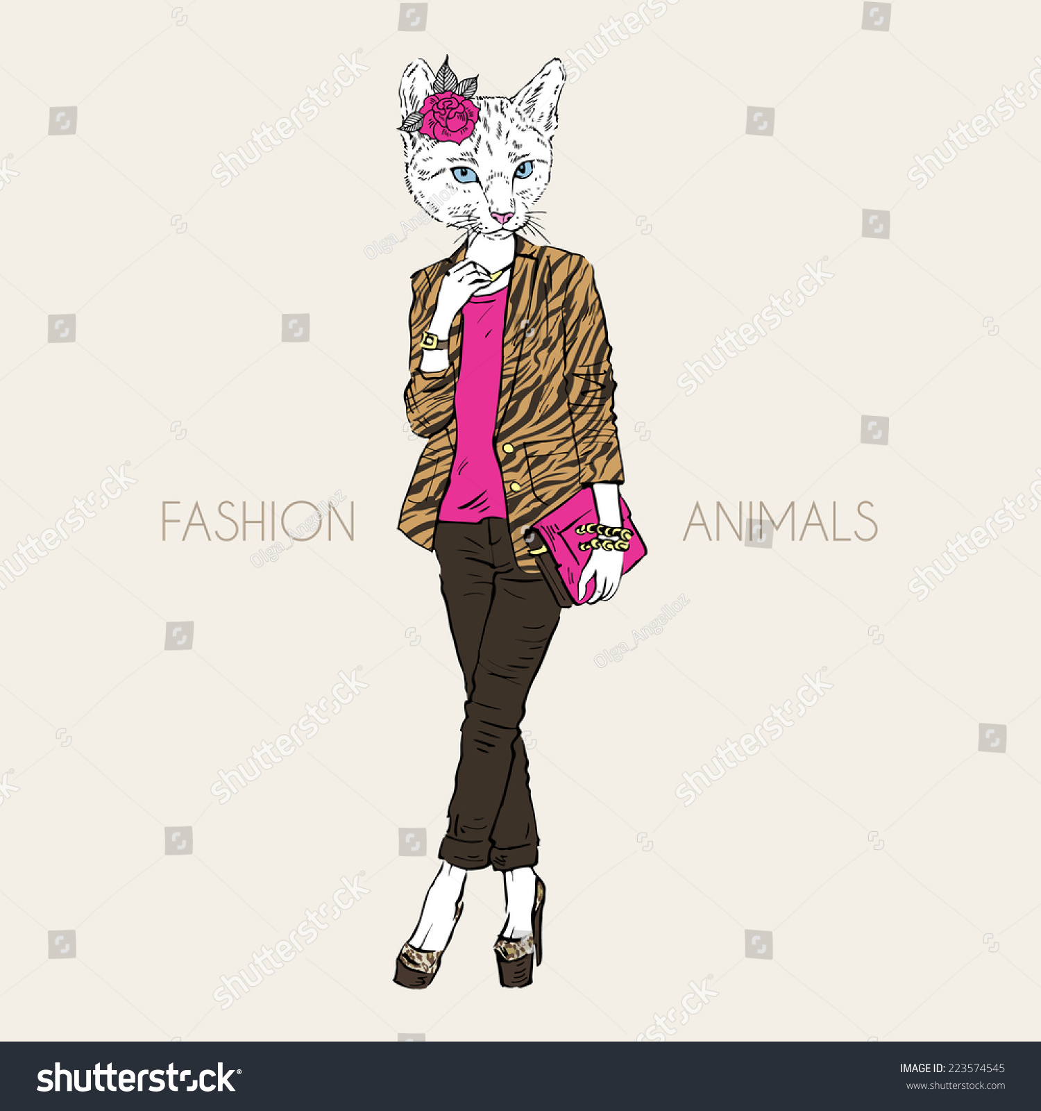 Fashion Illustration Of Cat Girl Dressed Up In City Style